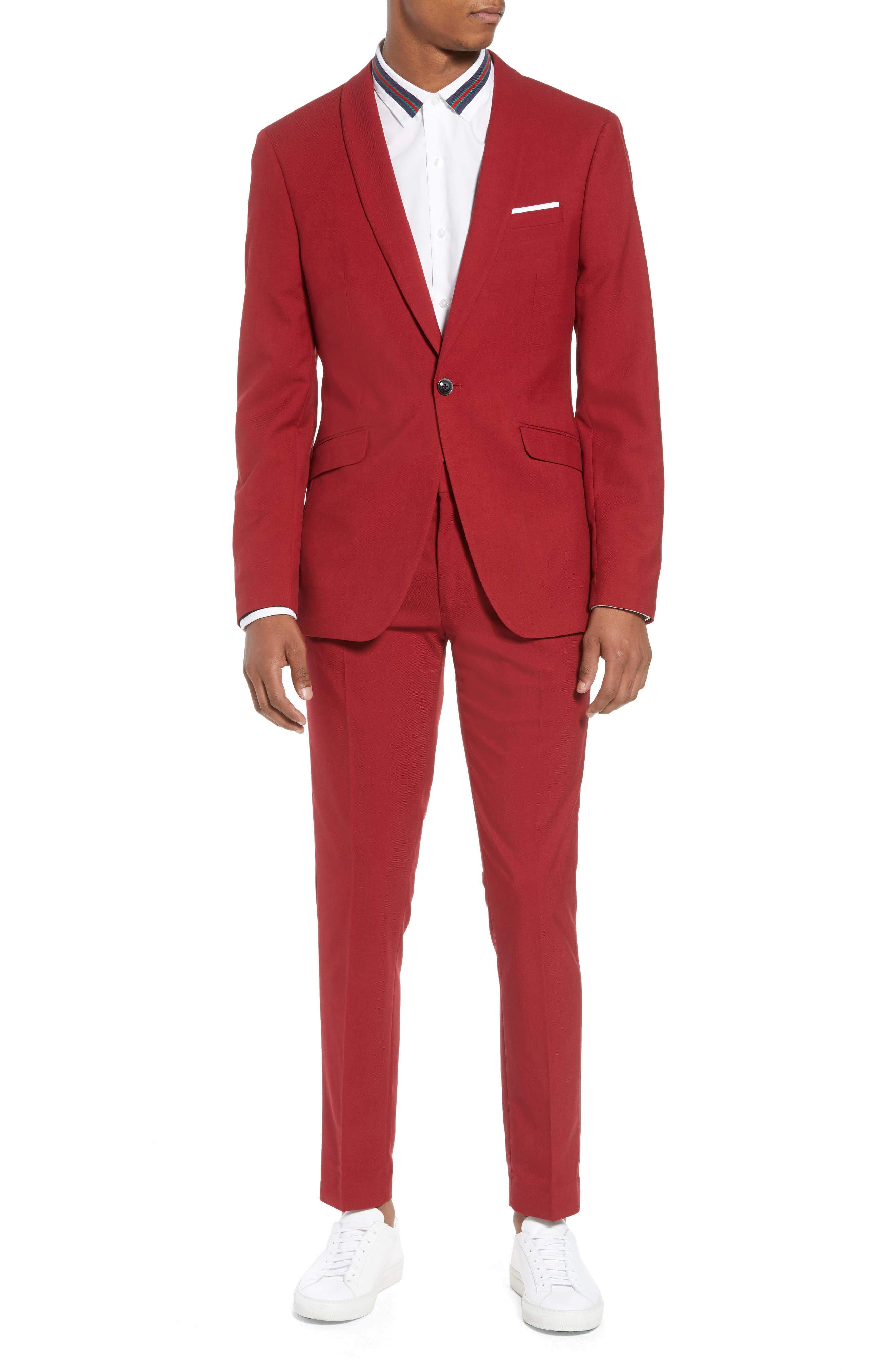 Skinny Fit Suit Trousers,                             Alternate thumbnail 7, color,                             RED