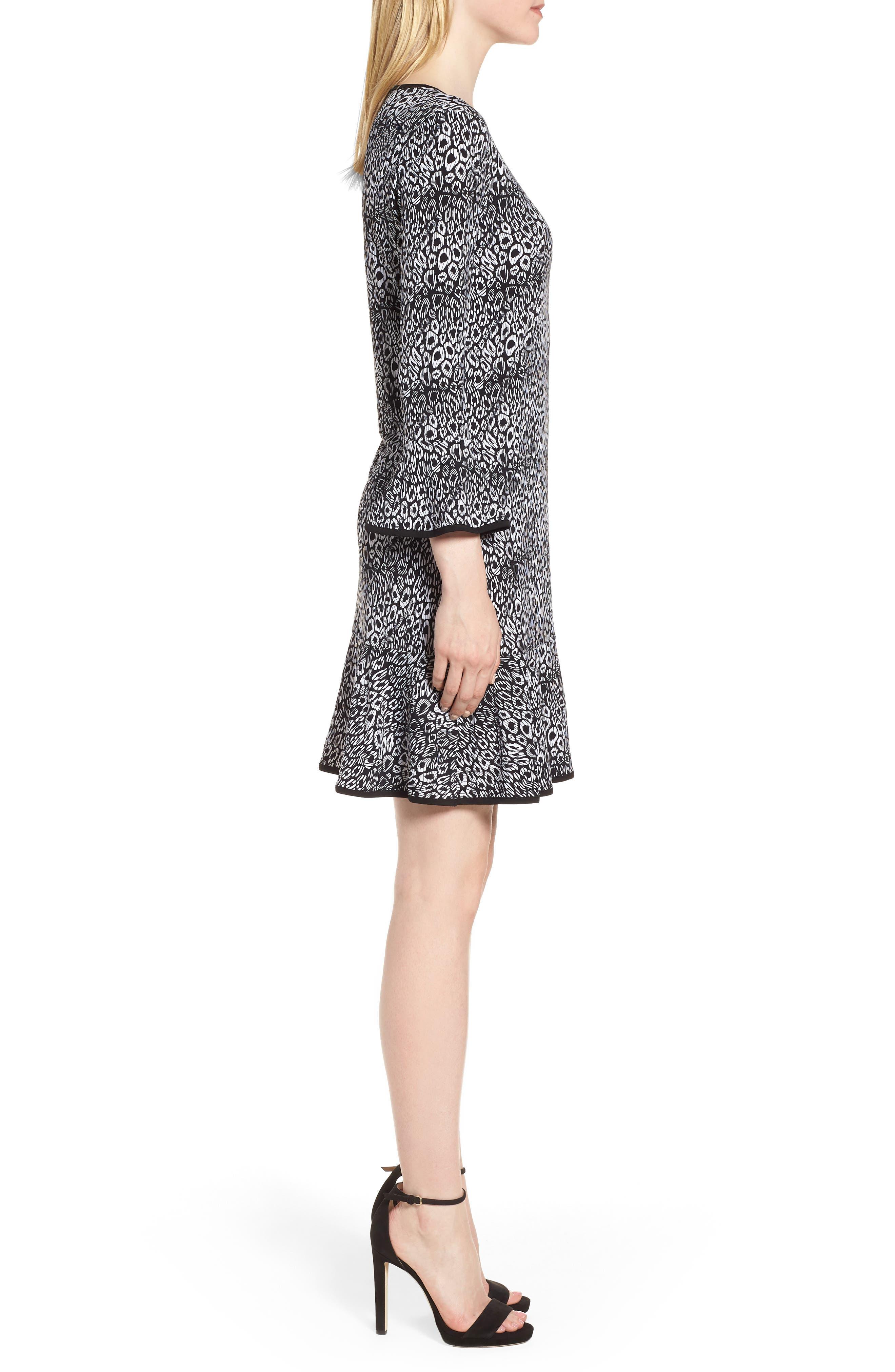 Wavy Leopard Flounce Dress,                             Alternate thumbnail 3, color,                             001