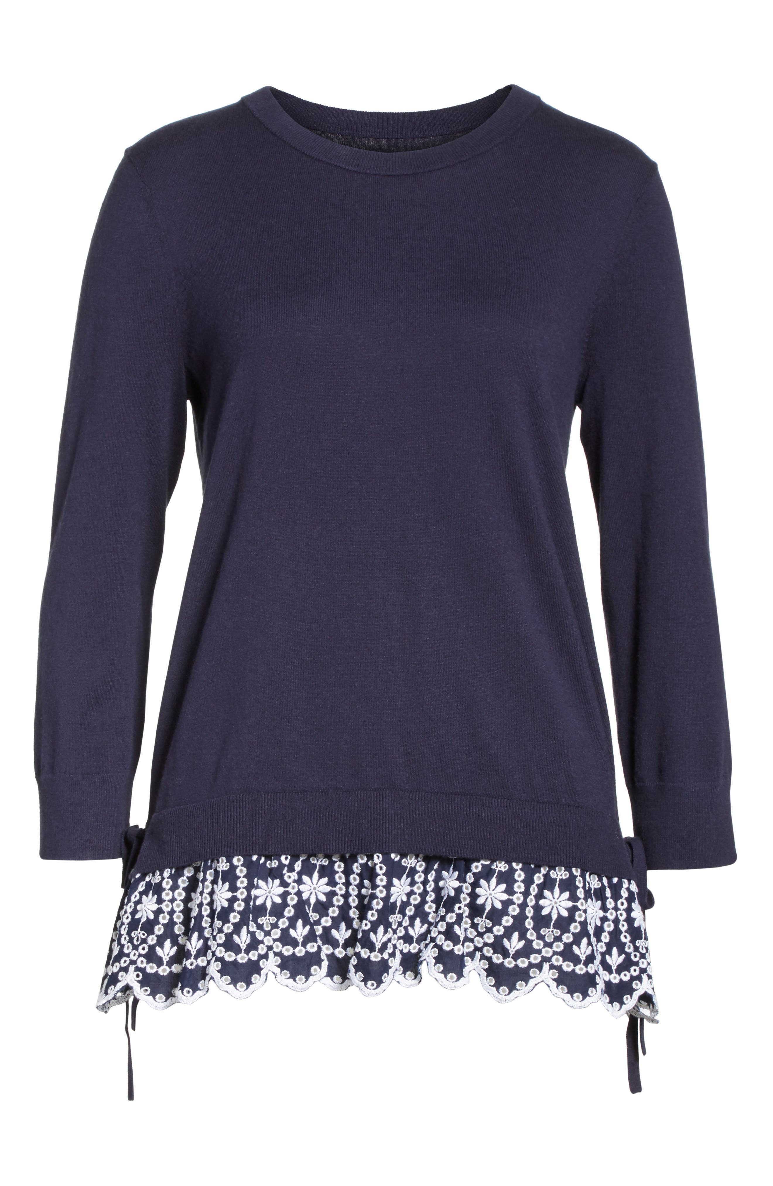 KATE SPADE NEW YORK,                             eyelet hem sweater,                             Alternate thumbnail 6, color,                             473