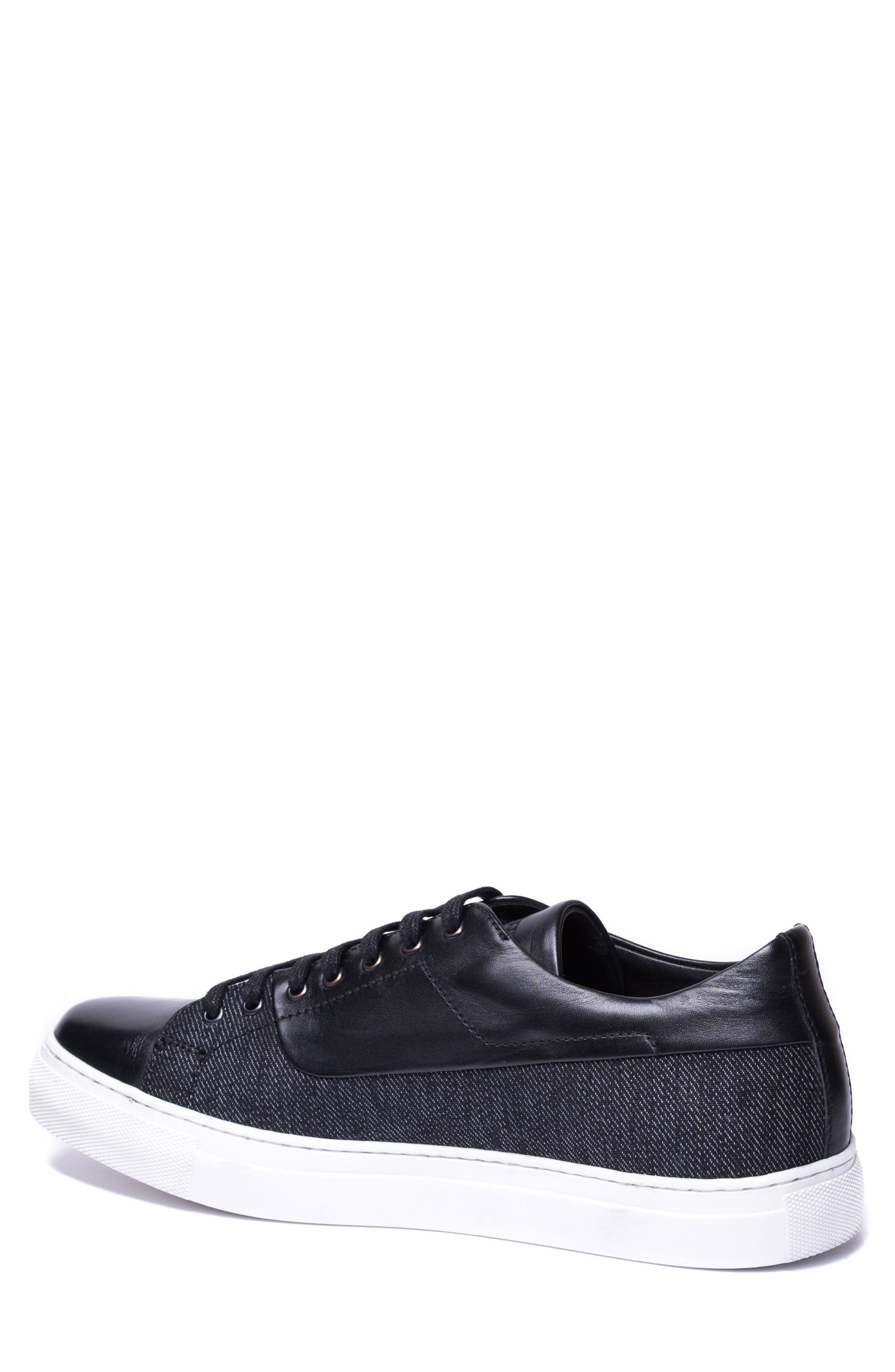Luke Low Top Sneaker,                             Alternate thumbnail 2, color,                             BLACK LEATHER
