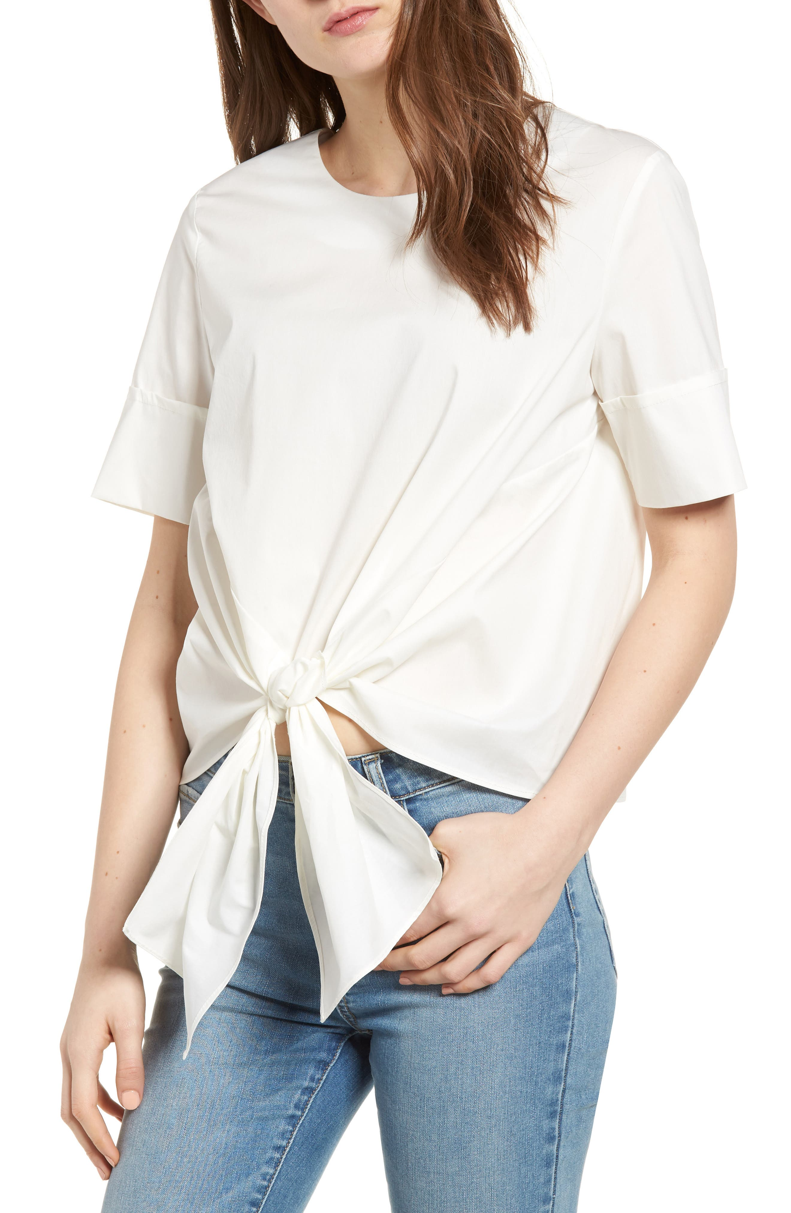 Bishop + Young Front Tie Blouse,                         Main,                         color, WHITE