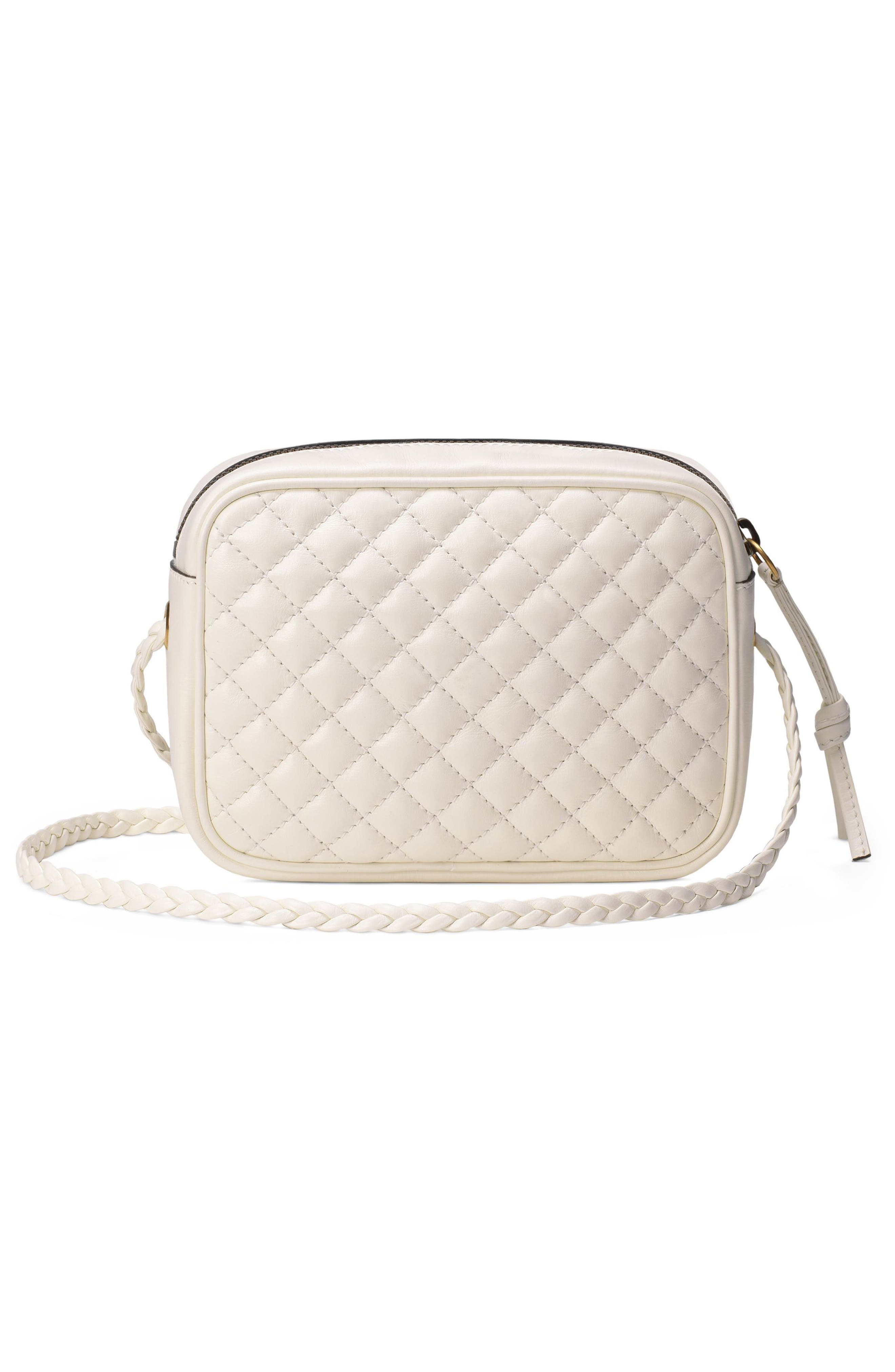 Small Quilted Leather Camera Bag,                             Alternate thumbnail 2, color,                             OFF WHITE/ VERT/ RED