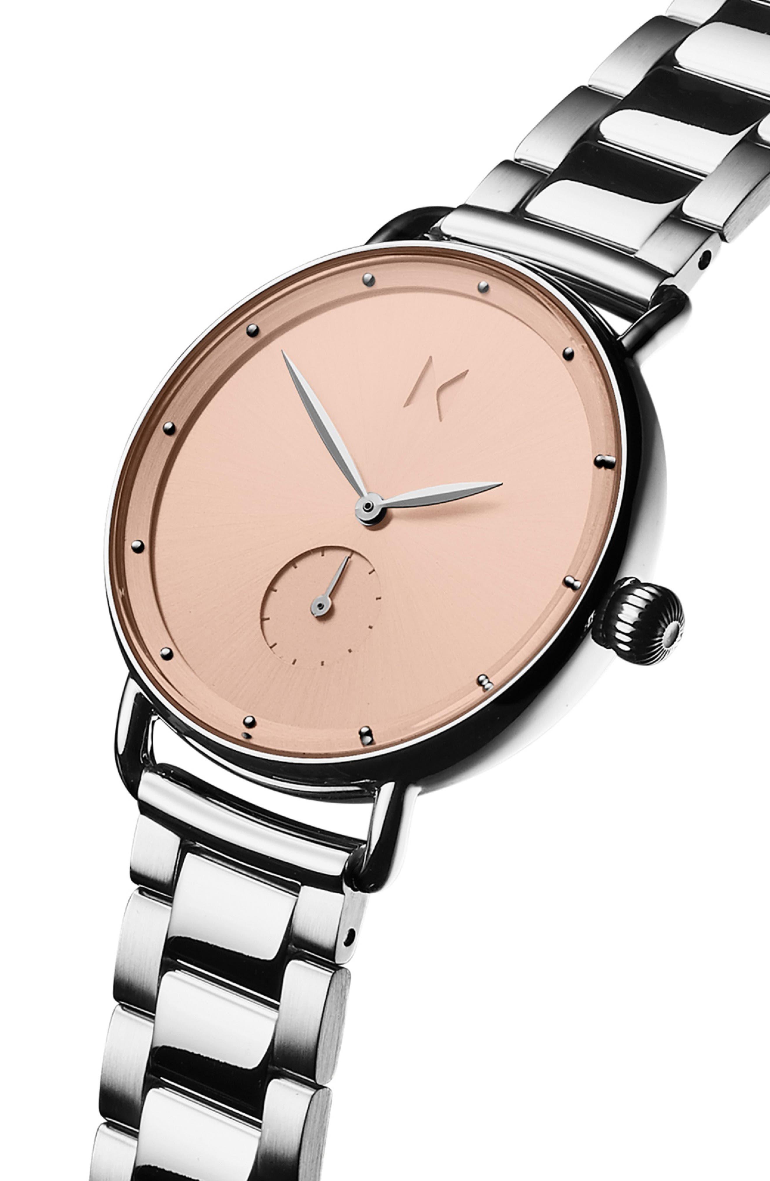Bloom Bracelet Watch, 36mm,                             Alternate thumbnail 4, color,                             SILVER/ ROSE GOLD/ SILVER