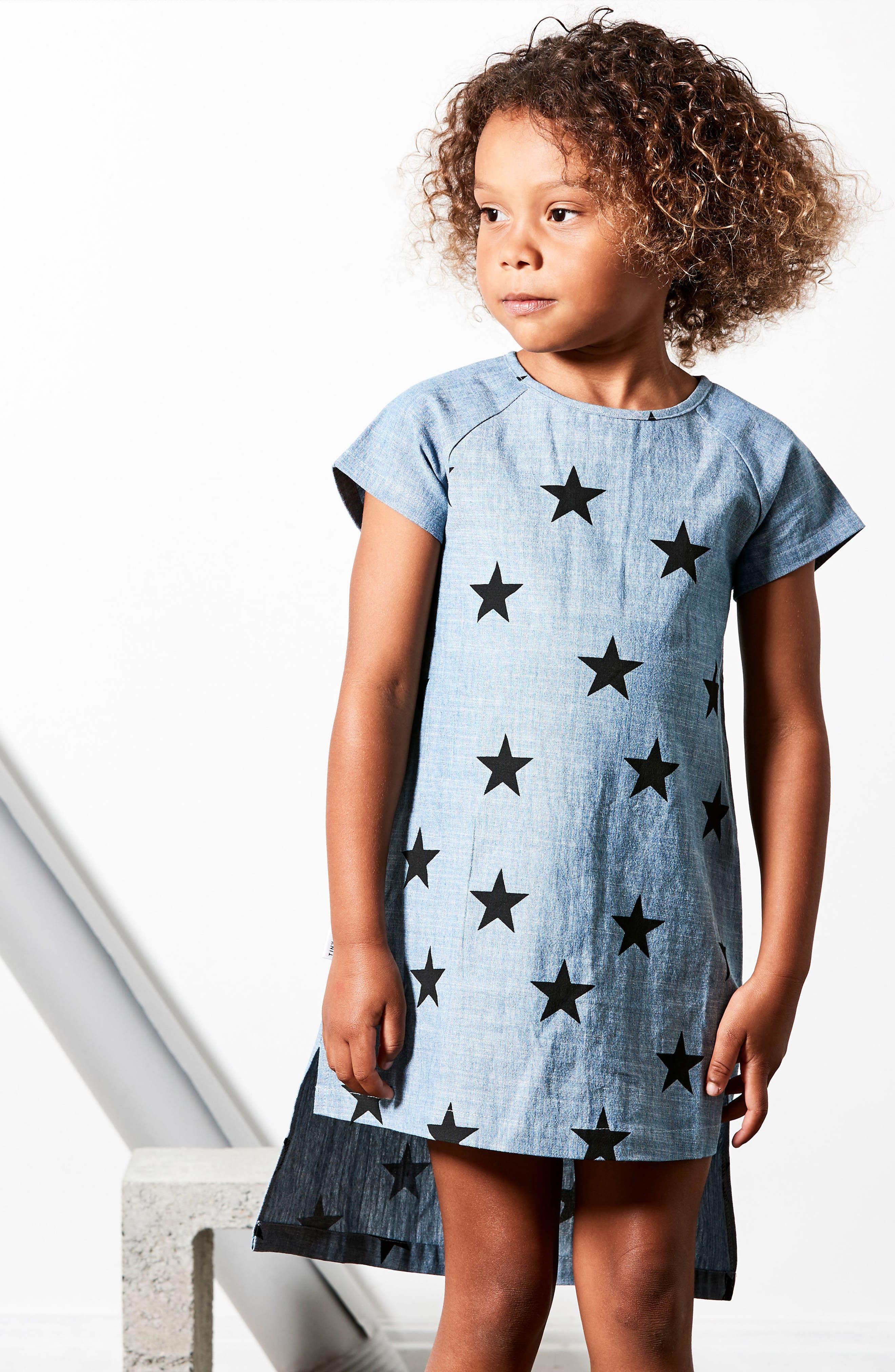 Star Print Chambray Dress,                             Alternate thumbnail 4, color,                             CHAMBRAY