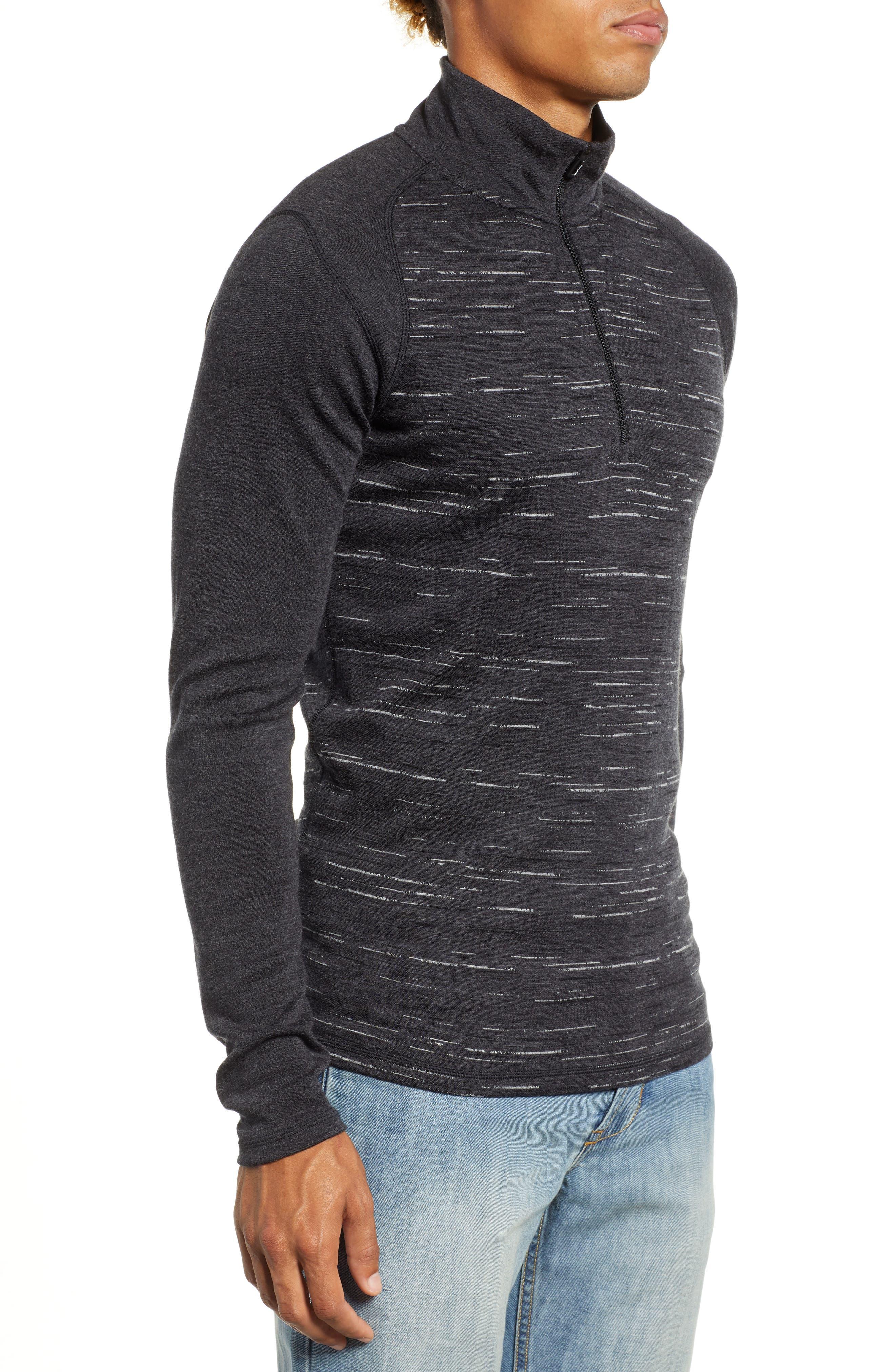 SMARTWOOL,                             Merino 250 Base Layer Pattern Quarter Zip Pullover,                             Alternate thumbnail 3, color,                             CHARCOAL/ BLACK