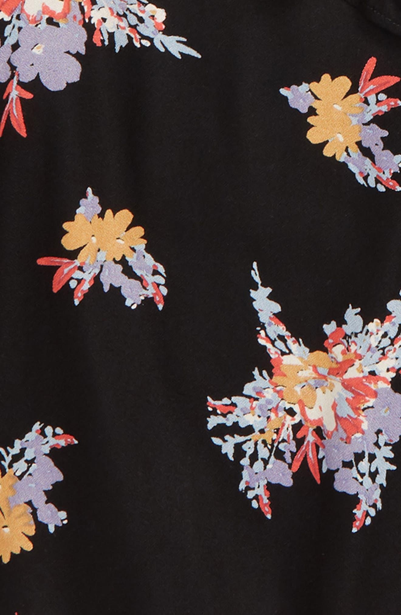 Floral Print Ruffle Top,                             Alternate thumbnail 2, color,                             BLACK CLUSTER FLORAL