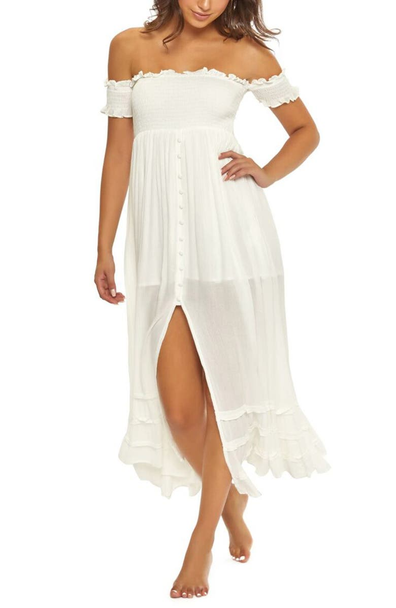 Pilyq MISHELLE OFF THE SHOULDER COVER-UP MAXI DRESS