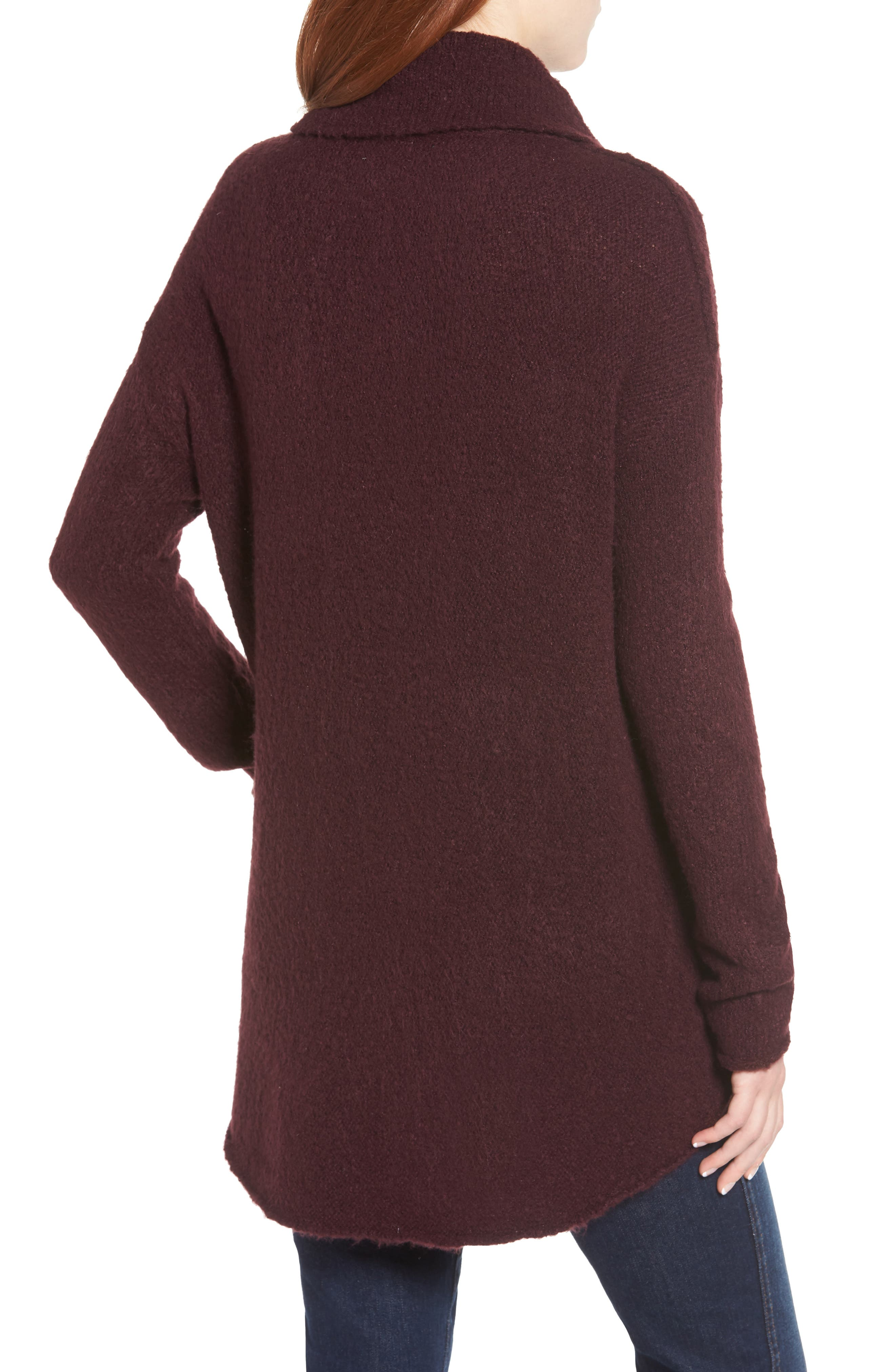 Tunic Sweater,                             Alternate thumbnail 2, color,                             BURGUNDY FIG