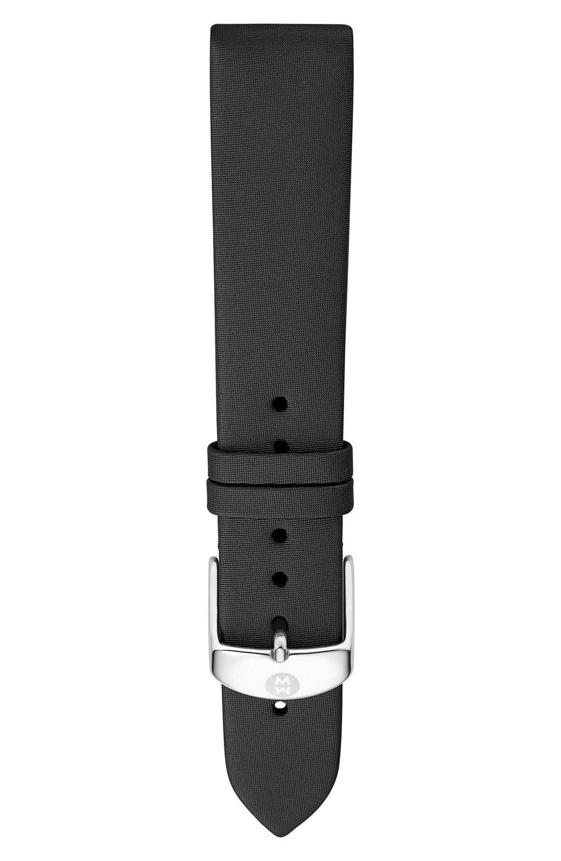 18mm Satin Watch Strap,                             Main thumbnail 1, color,                             BLACK
