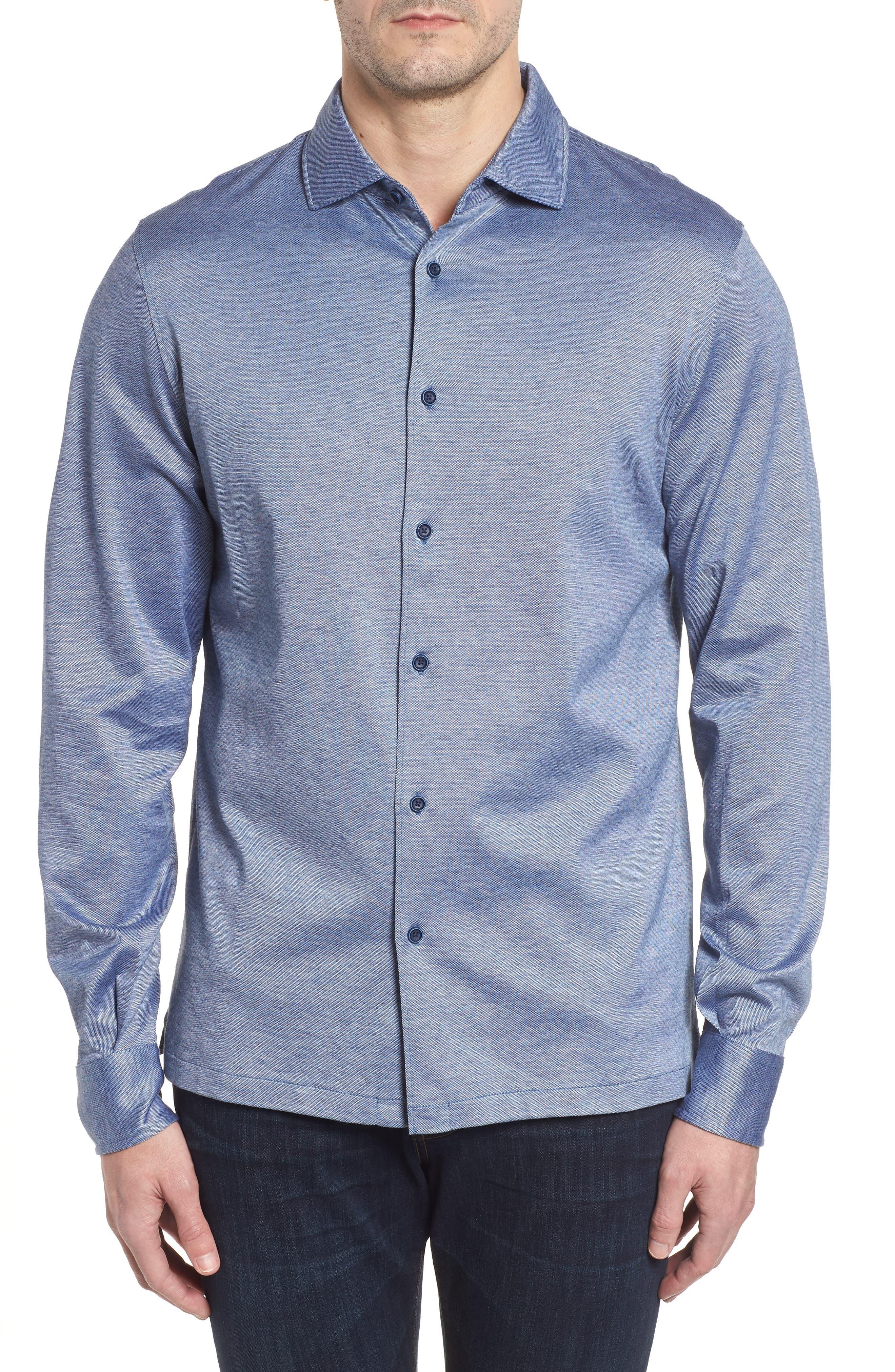 Regular Fit Silk Blend Sport Shirt,                             Main thumbnail 3, color,