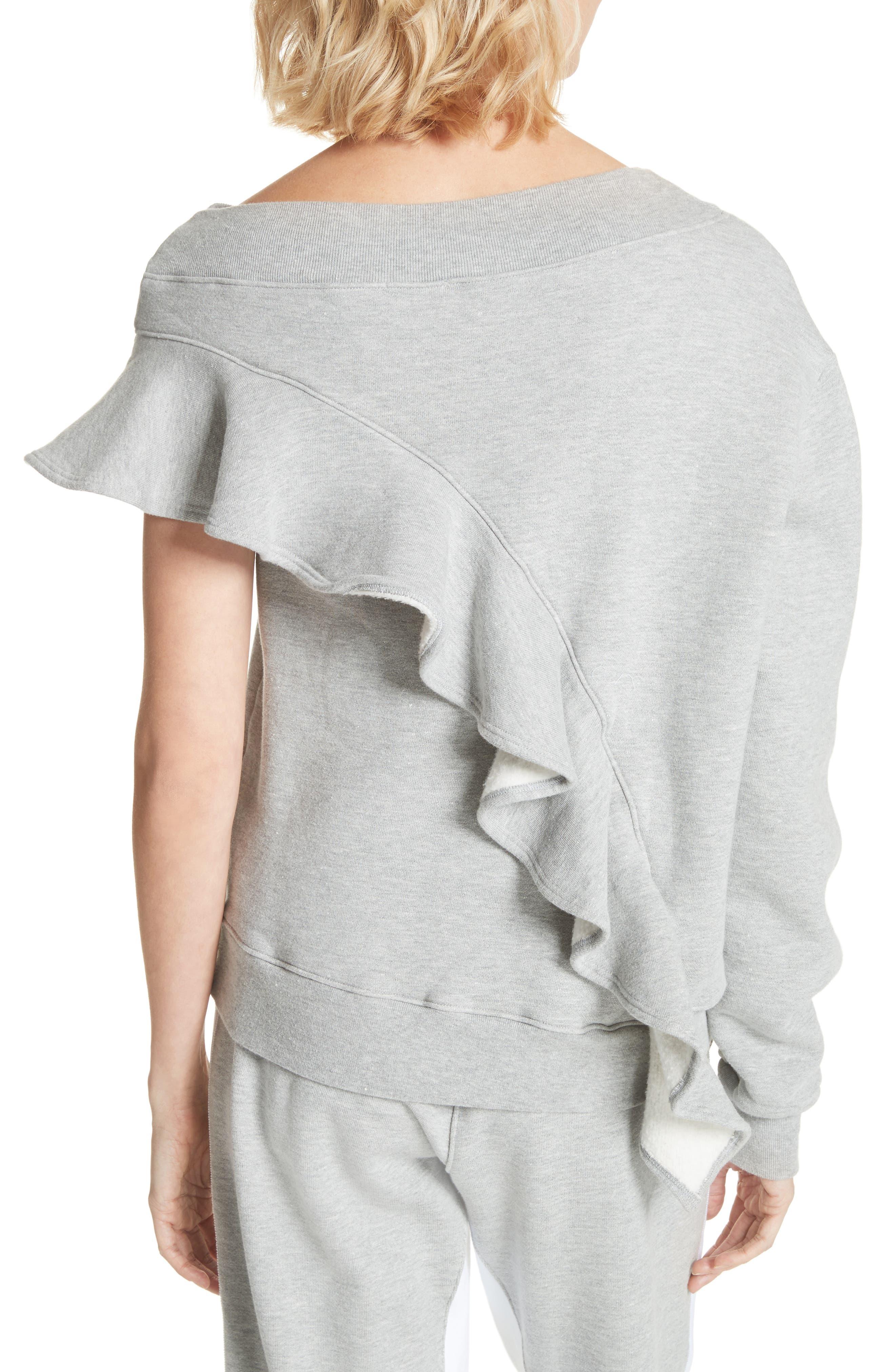 Asymmetrical Ruffle Sweatshirt,                             Alternate thumbnail 2, color,                             060
