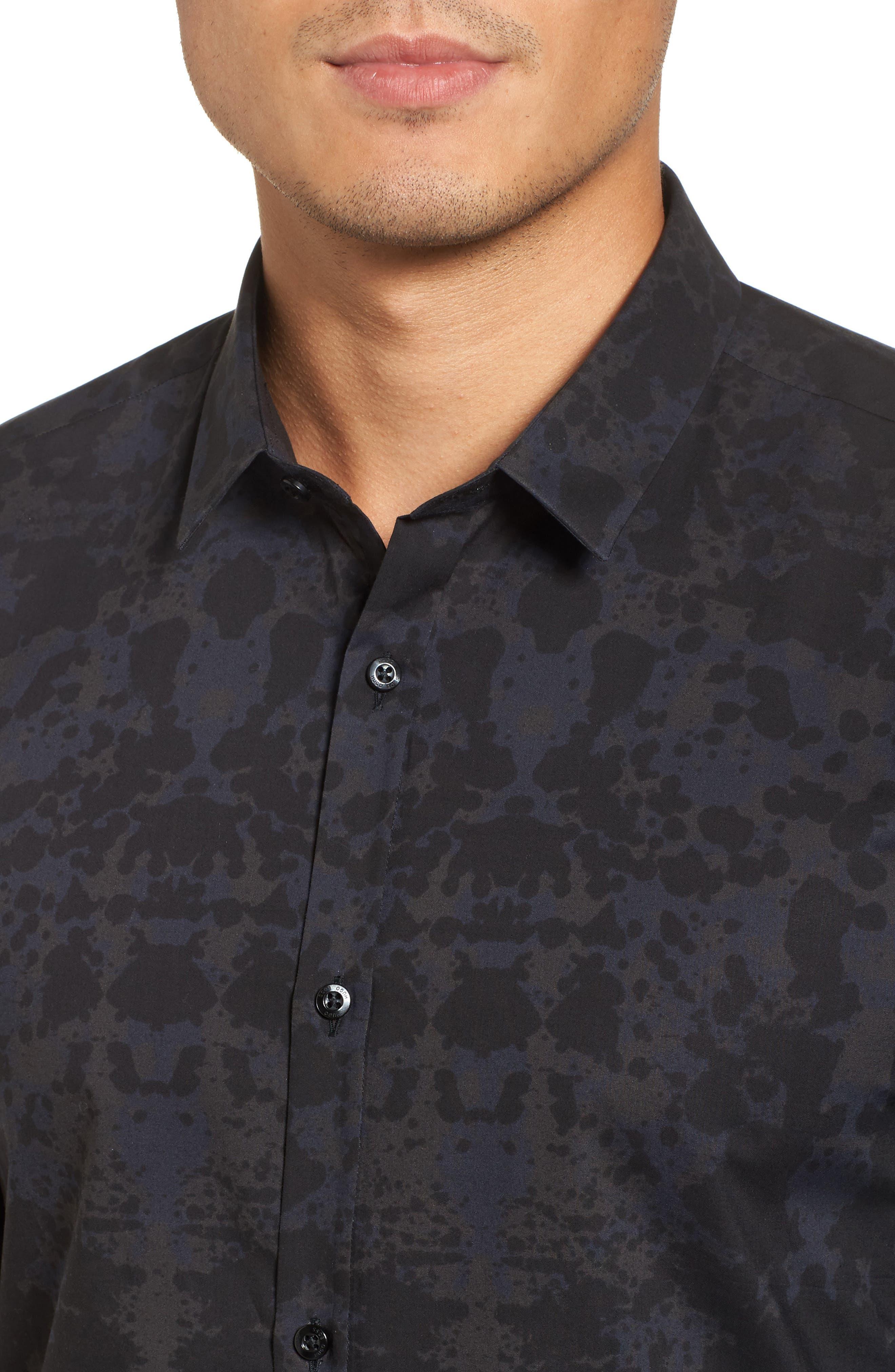 HUGO Ero Slim Fit Print Sport Shirt,                             Alternate thumbnail 4, color,