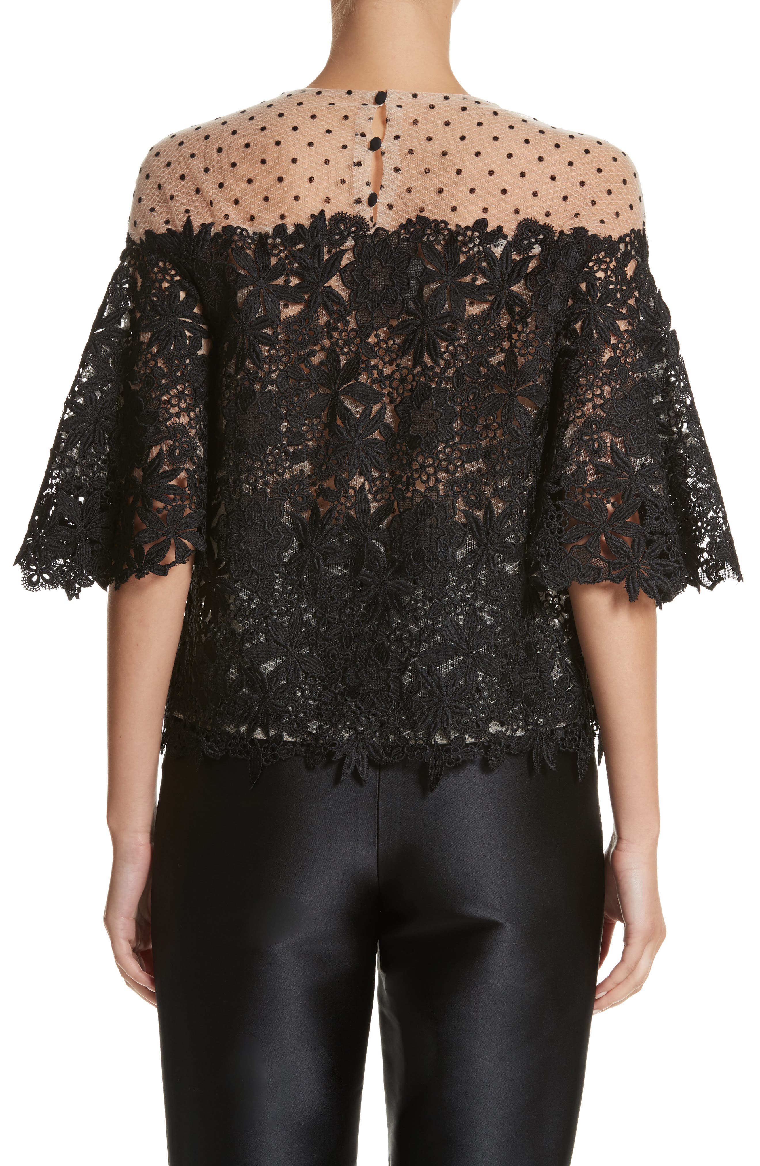 Lace & Dot Flutter Sleeve Top,                             Alternate thumbnail 2, color,