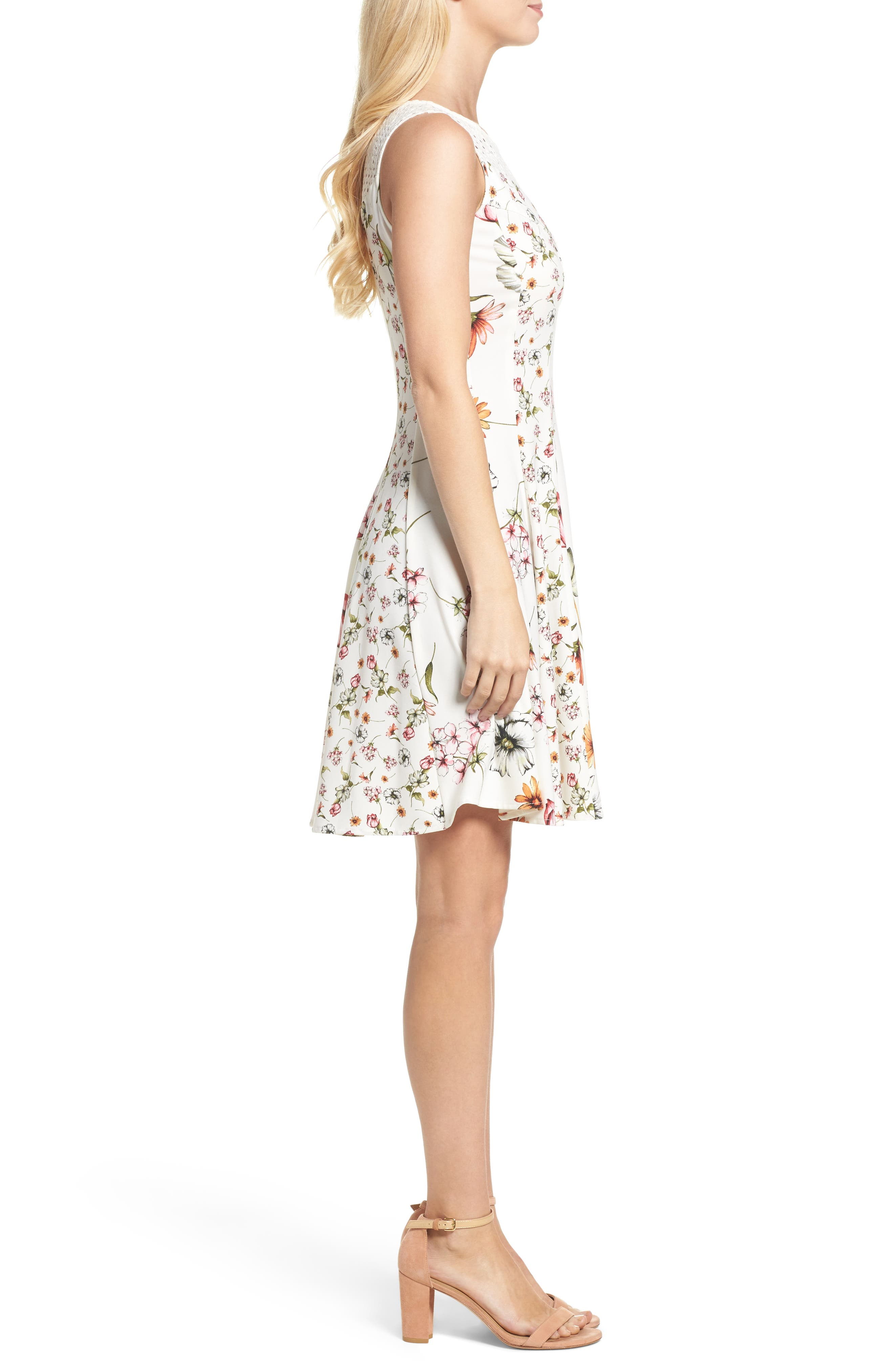 Floral Fit & Flare Dress,                             Alternate thumbnail 3, color,                             901