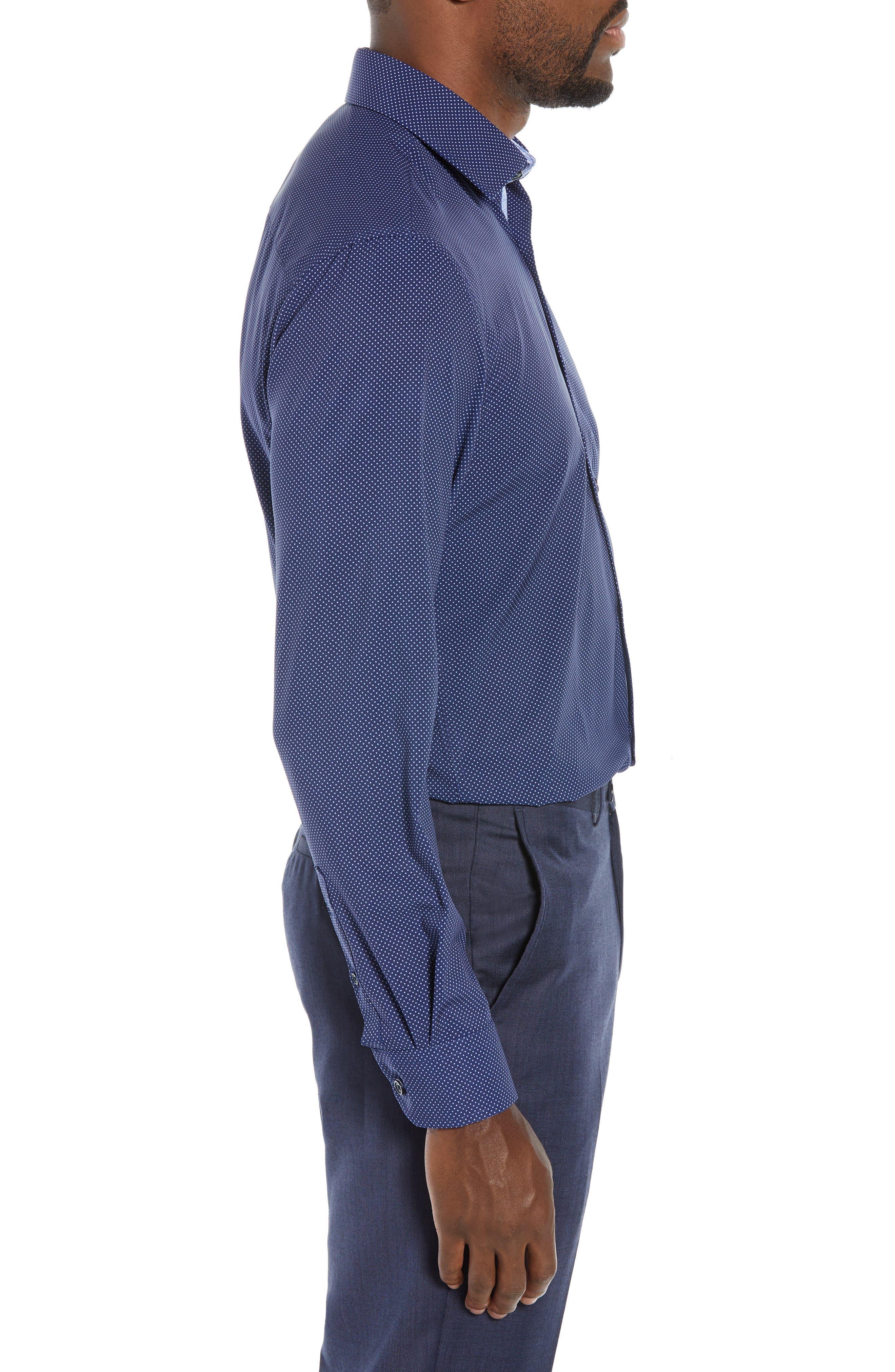 Trim Fit Stretch Dot Dress Shirt,                             Alternate thumbnail 4, color,                             NAVY