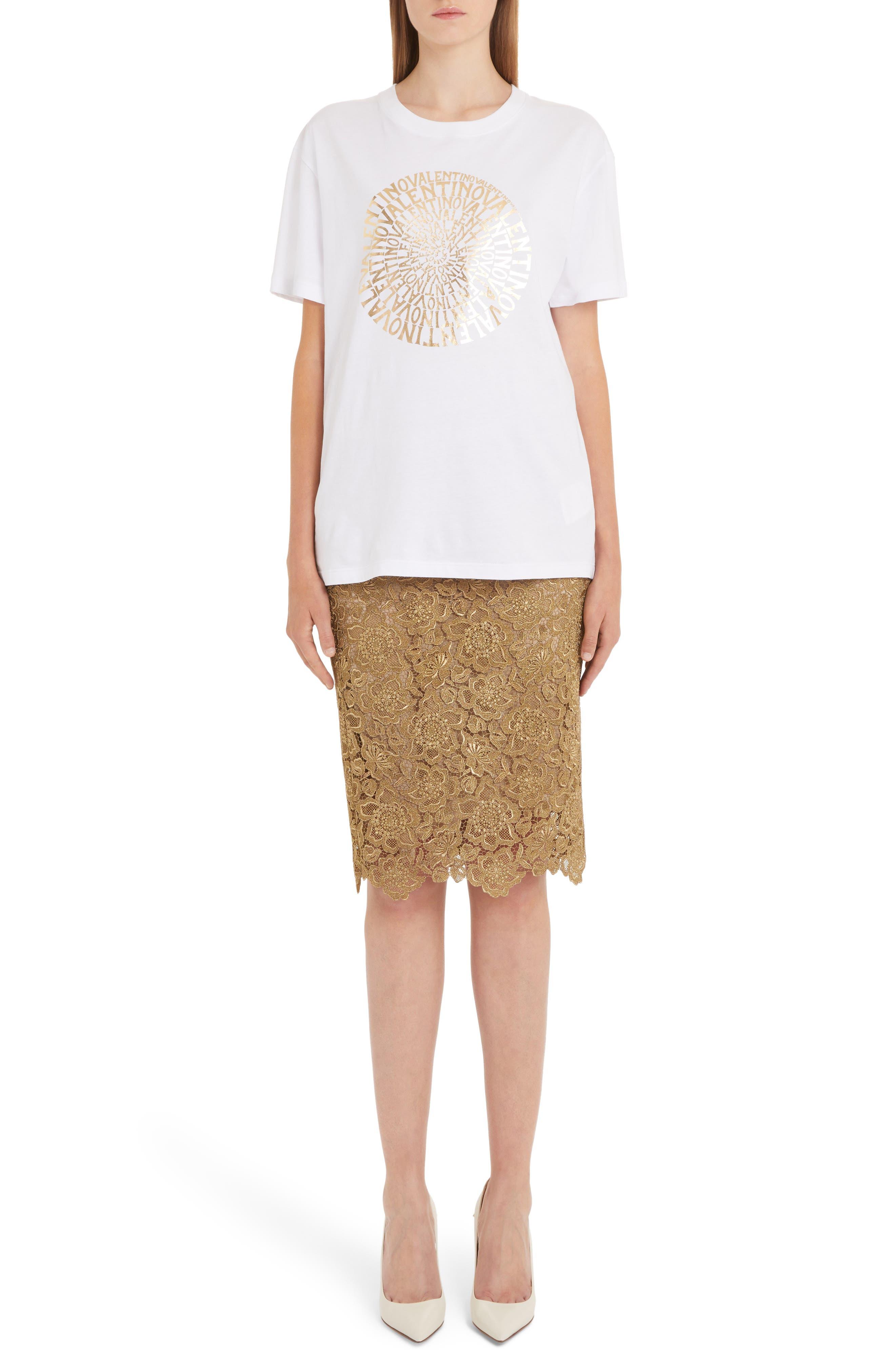 Anemone Guipure Lace Pencil Skirt,                             Alternate thumbnail 7, color,                             GOLD
