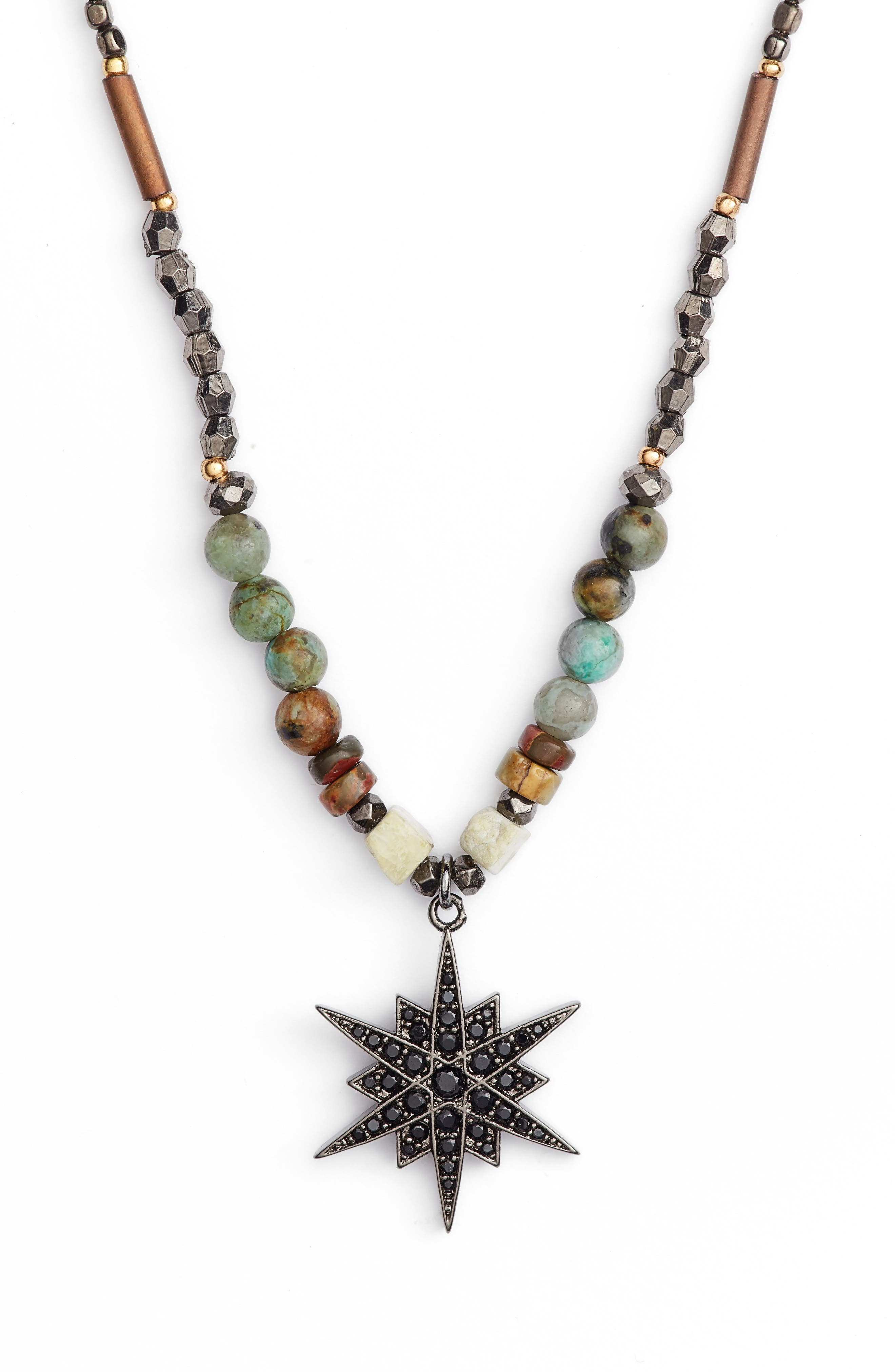Star Pendant Beaded Necklace,                             Main thumbnail 2, color,