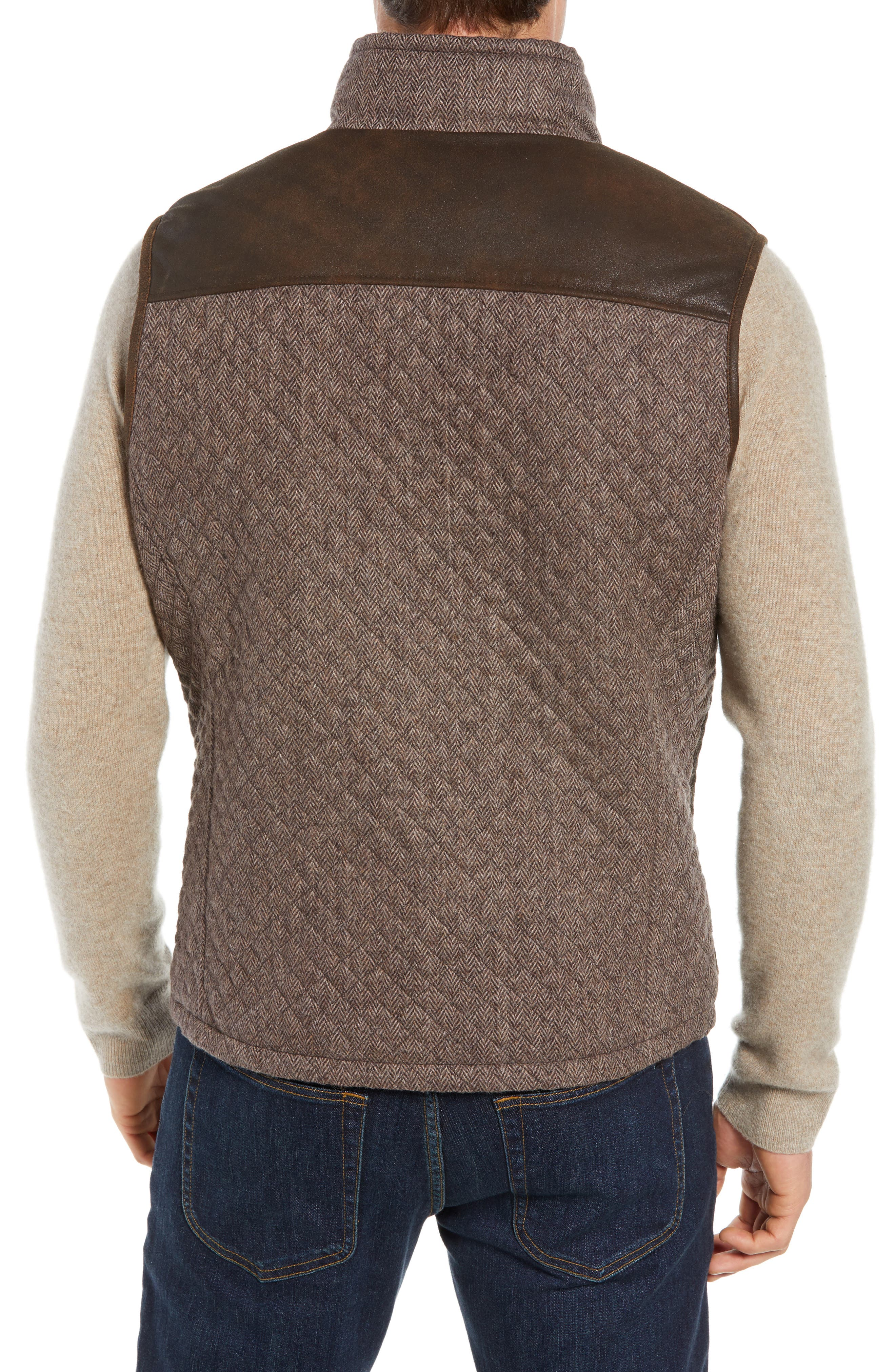 Quilted Leather & Wool Vest,                             Alternate thumbnail 2, color,                             201