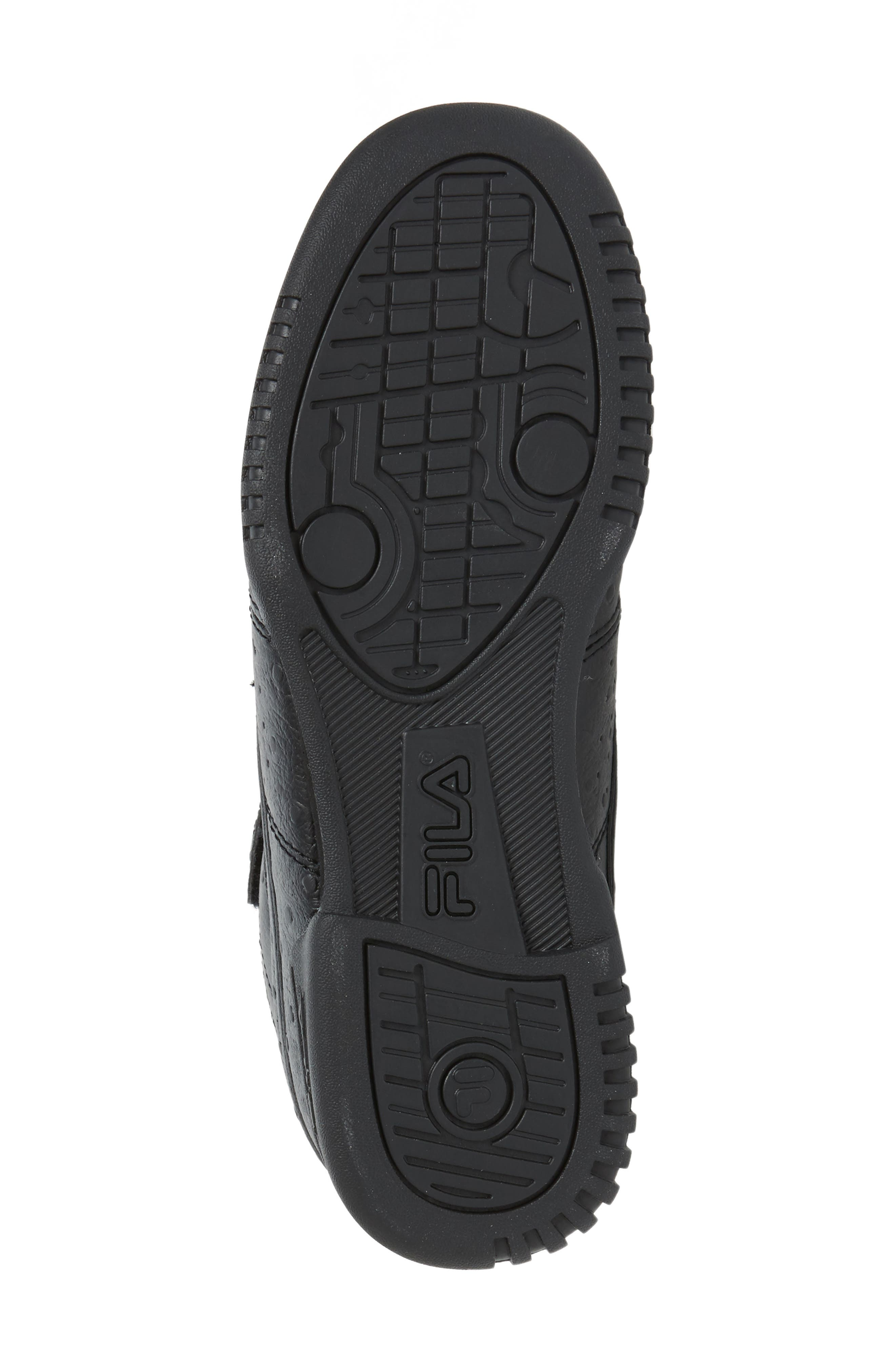 F-13 Ostrich Embossed High Top Sneaker,                             Alternate thumbnail 4, color,                             TRIPLE BLACK