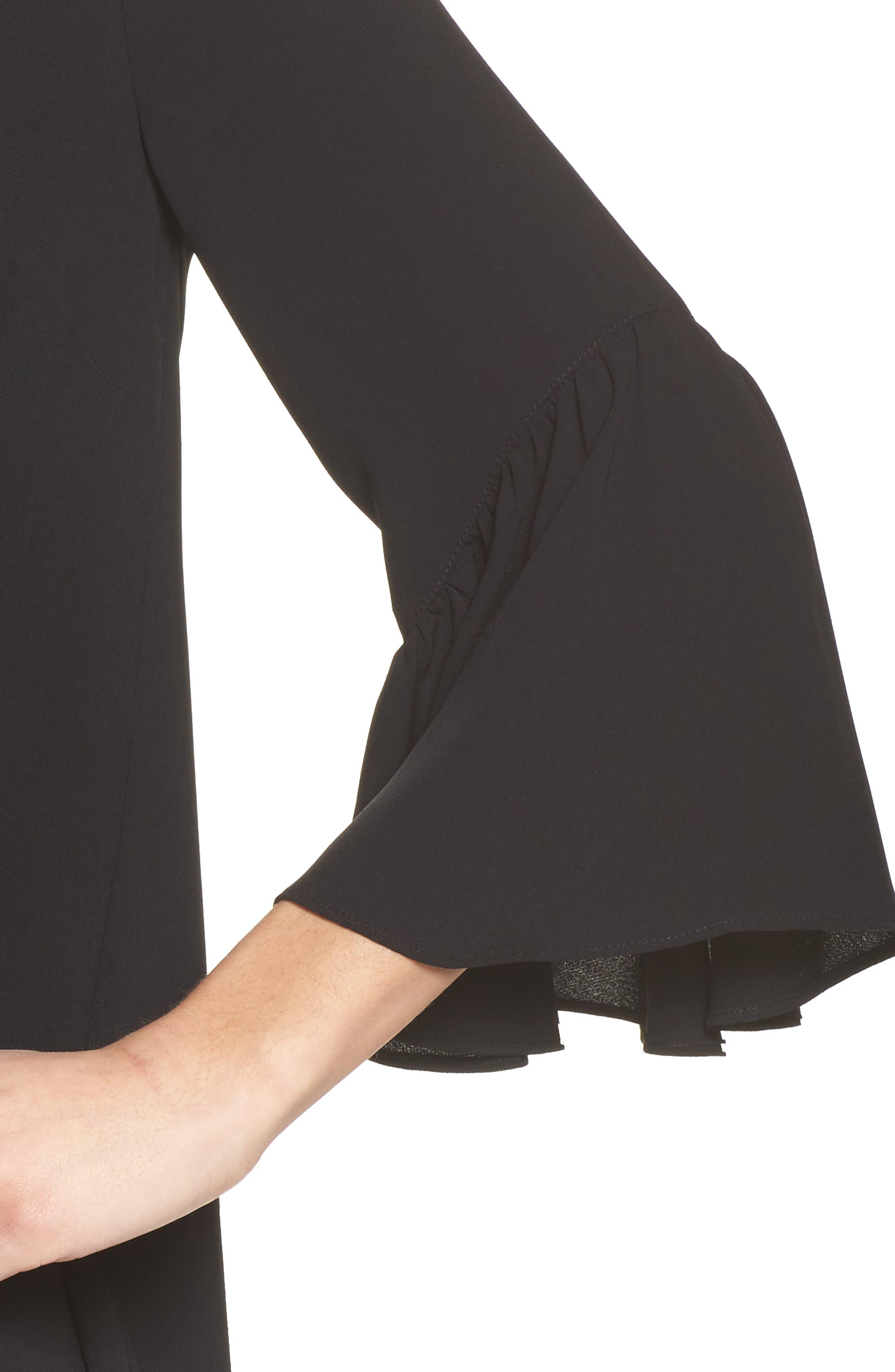 Bell Sleeve Shift Dress,                             Alternate thumbnail 4, color,                             001