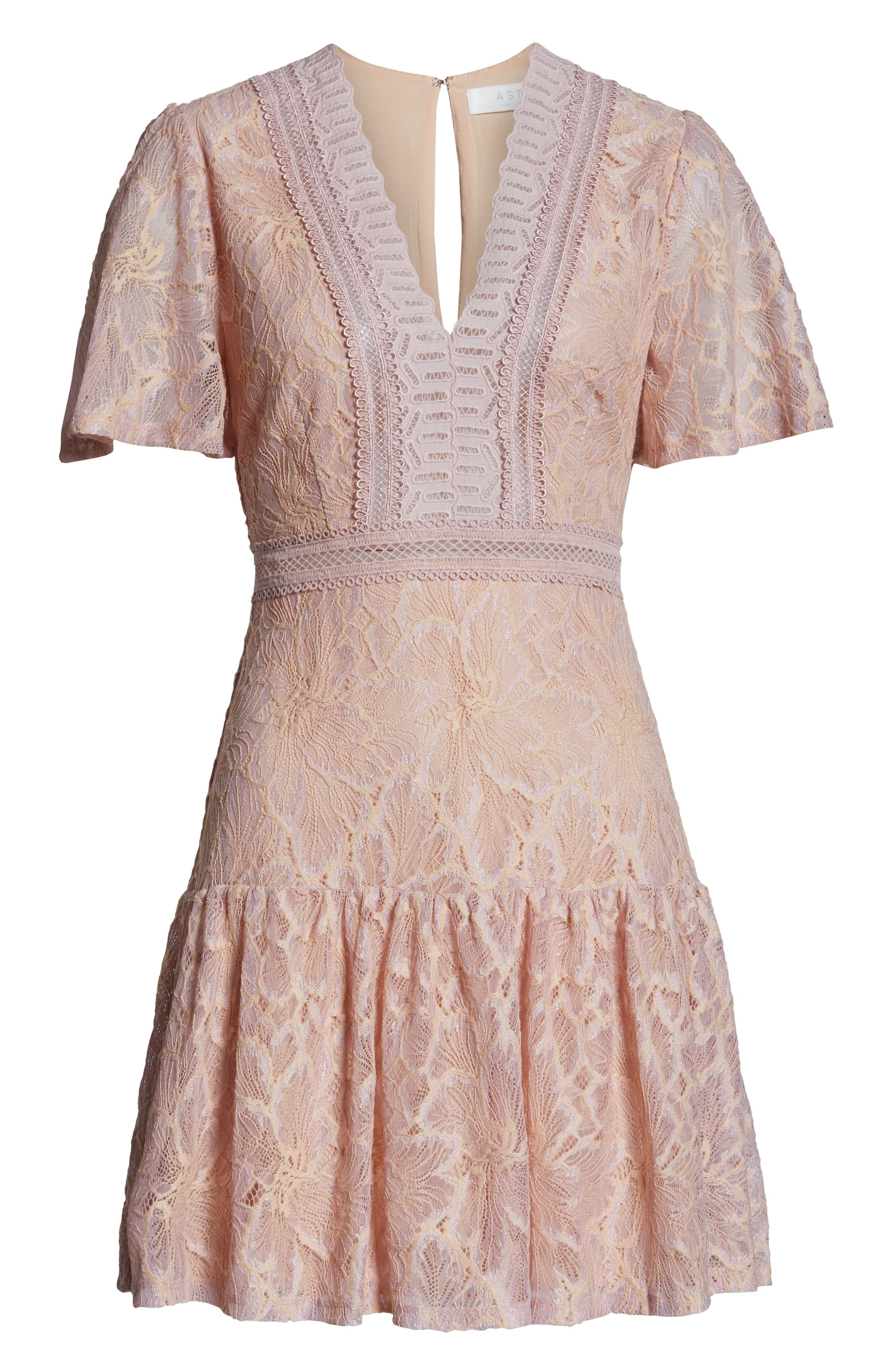 Muse Lace Skater Dress,                             Alternate thumbnail 4, color,                             ICY PINK
