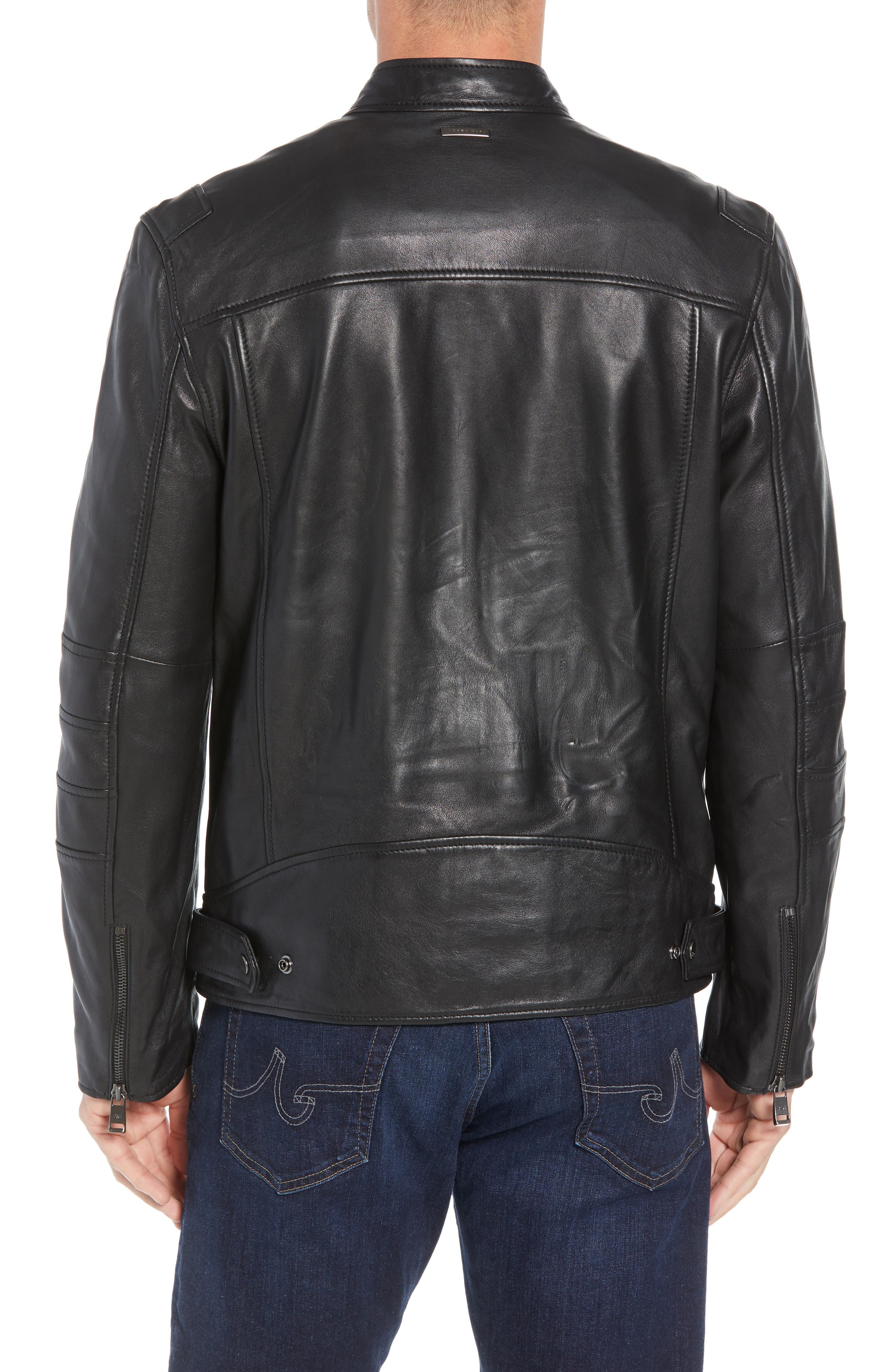 ANDREW MARC,                             Quilted Leather Moto Jacket,                             Alternate thumbnail 2, color,                             BLACK