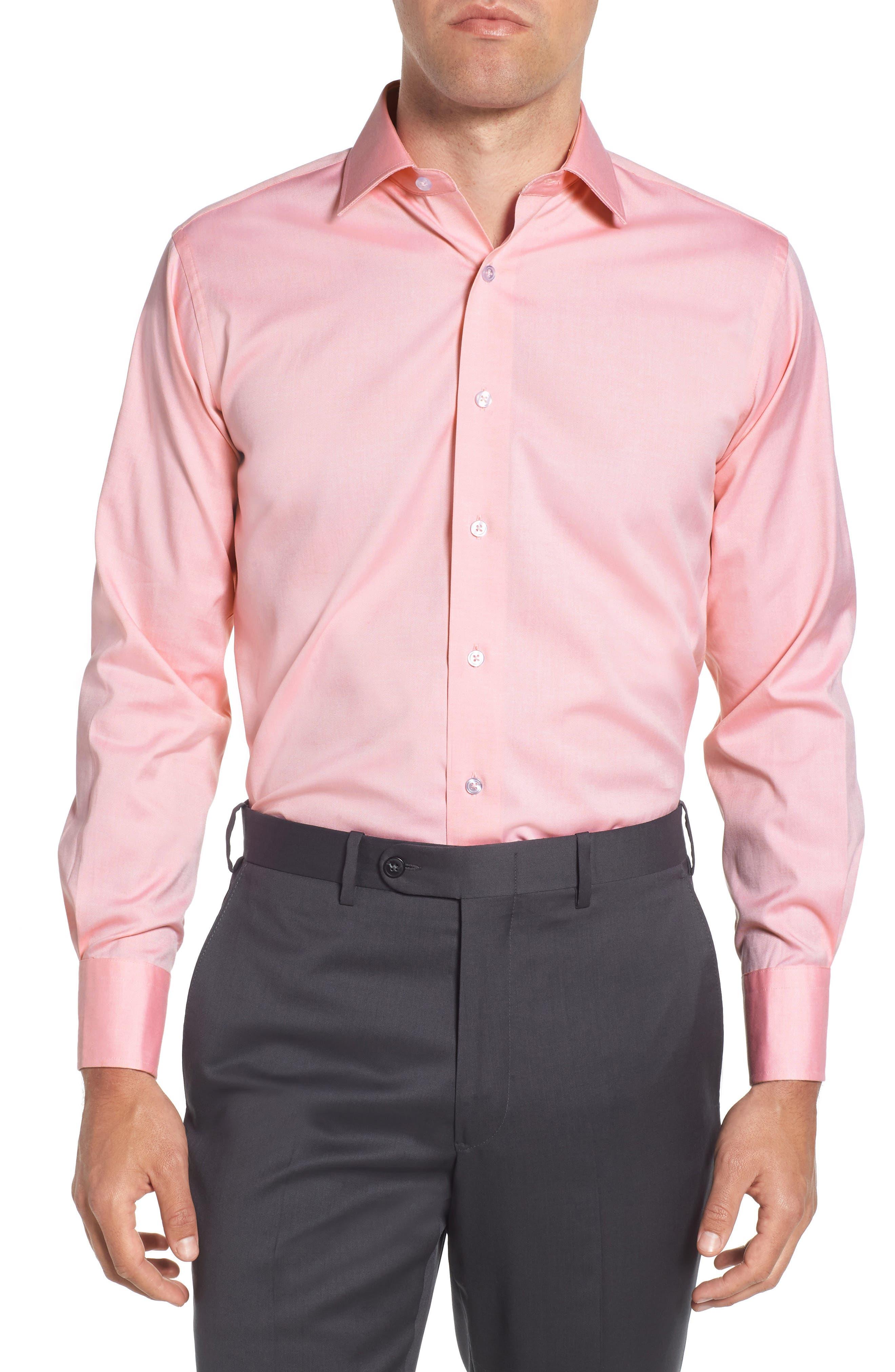 Trim Fit Solid Dress Shirt,                             Main thumbnail 1, color,                             PINK