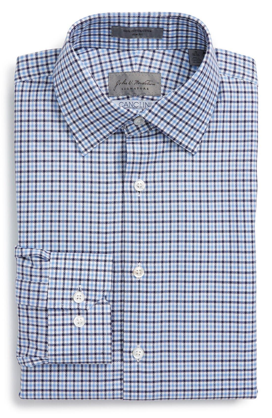 Trim Fit CheckDress Shirt,                             Main thumbnail 1, color,                             450