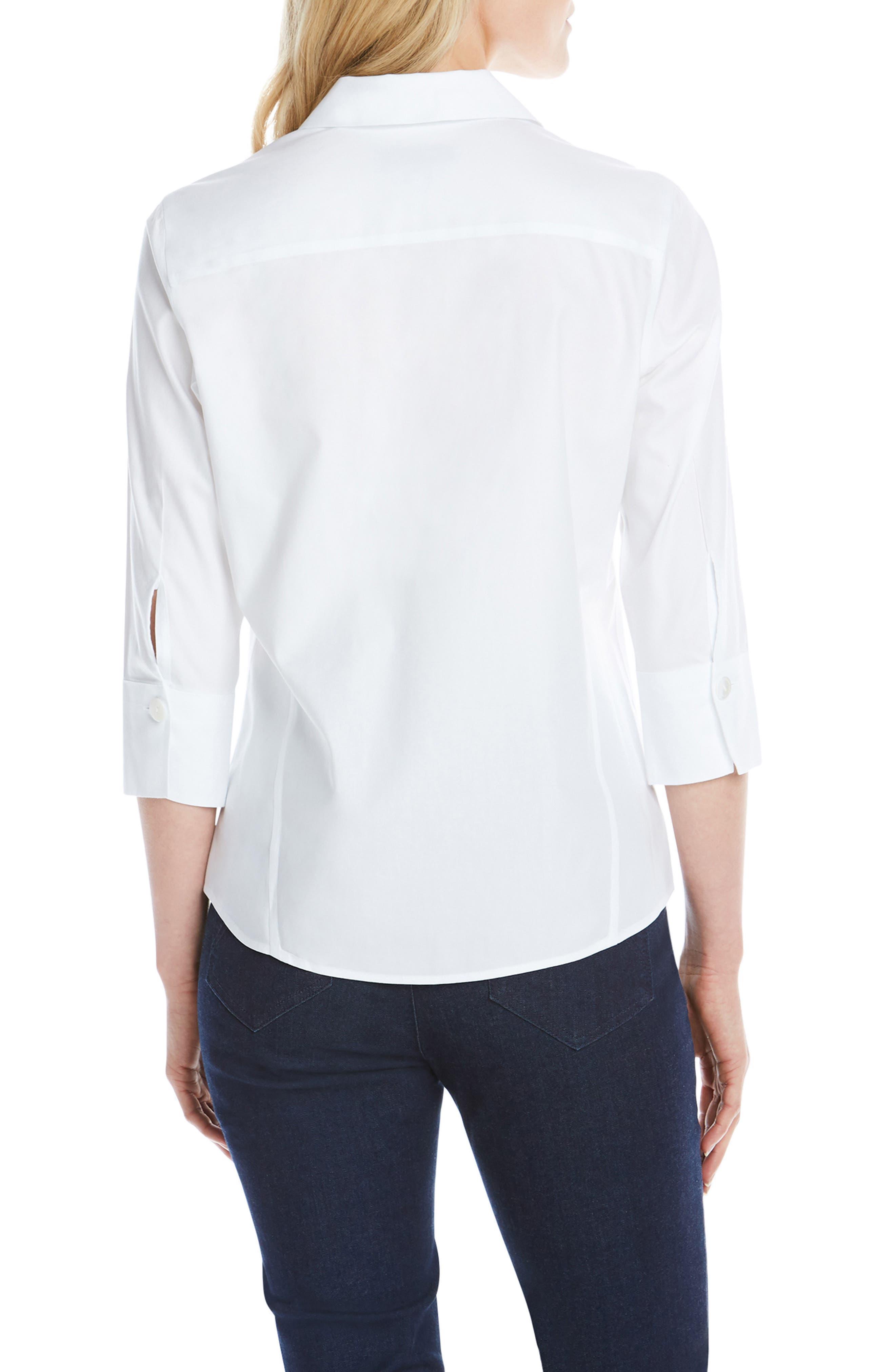 Paityn Non-Iron Cotton Shirt,                             Alternate thumbnail 2, color,                             WHITE