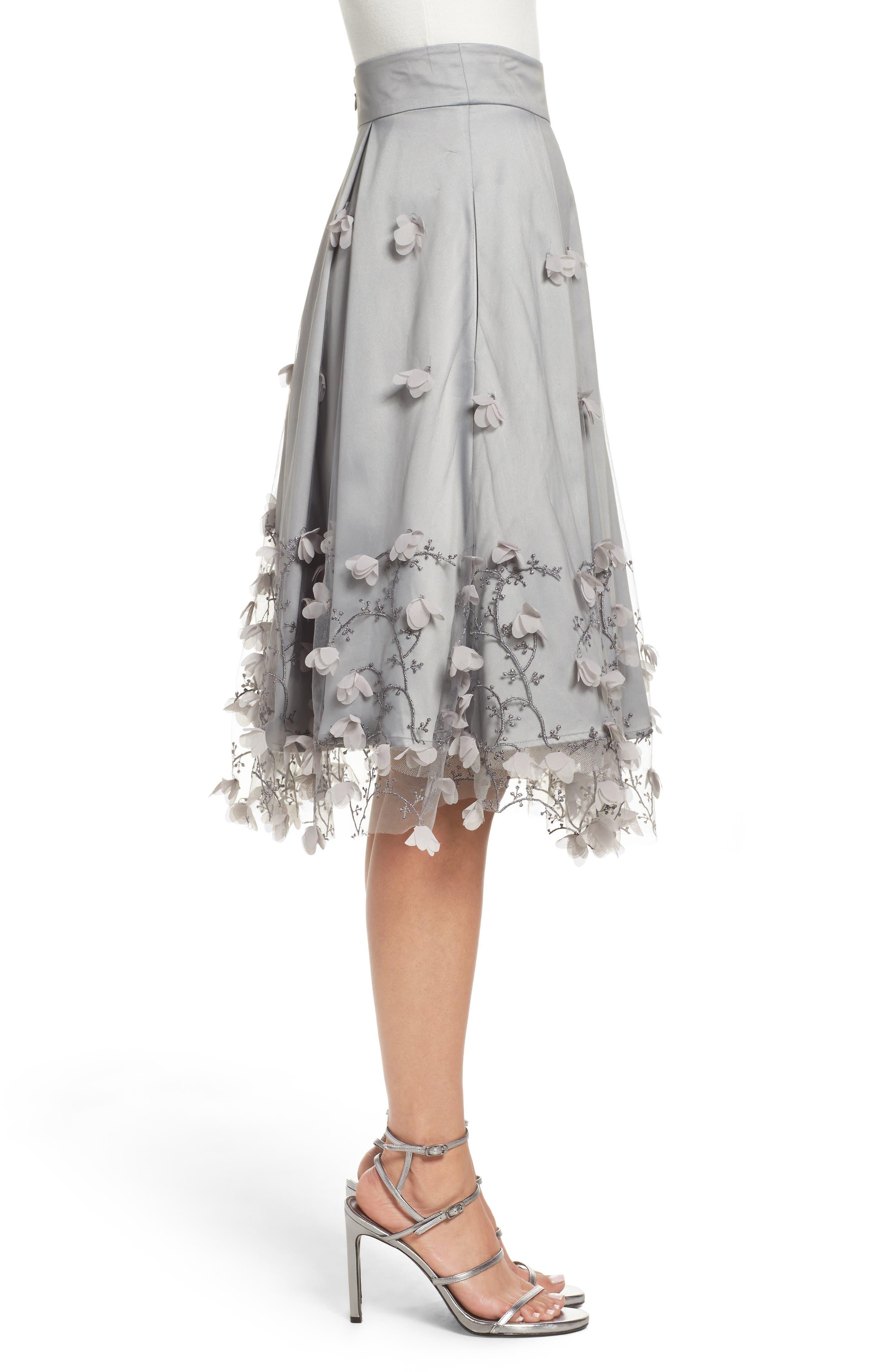 Floral Appliqué Ball Skirt,                             Alternate thumbnail 3, color,                             030