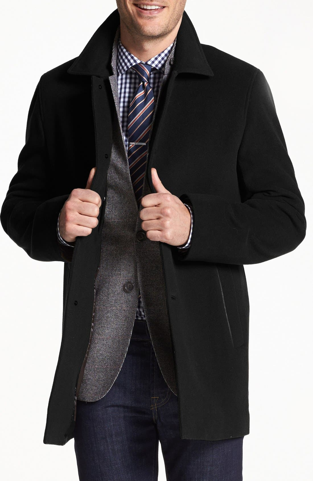 Italian Wool Blend Overcoat,                             Main thumbnail 1, color,                             BLACK