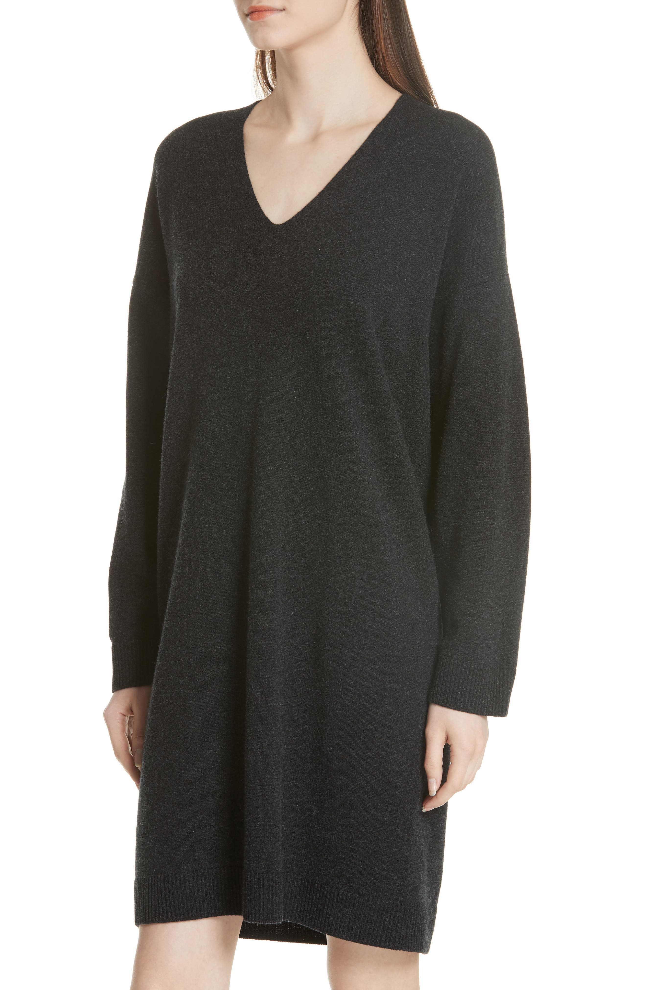 Wool & Cashmere Cocoon Dress,                             Alternate thumbnail 4, color,                             065