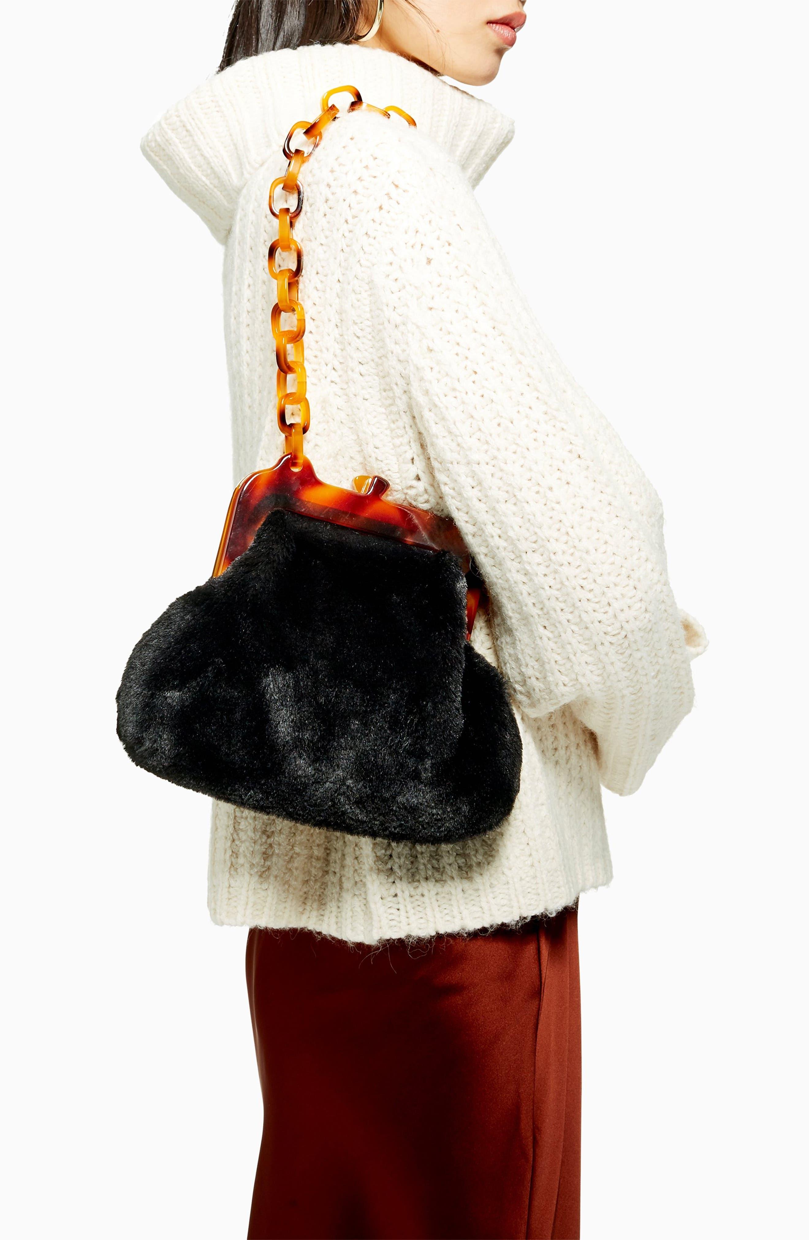 Faux Fur Frame Bag,                             Alternate thumbnail 4, color,                             BLACK