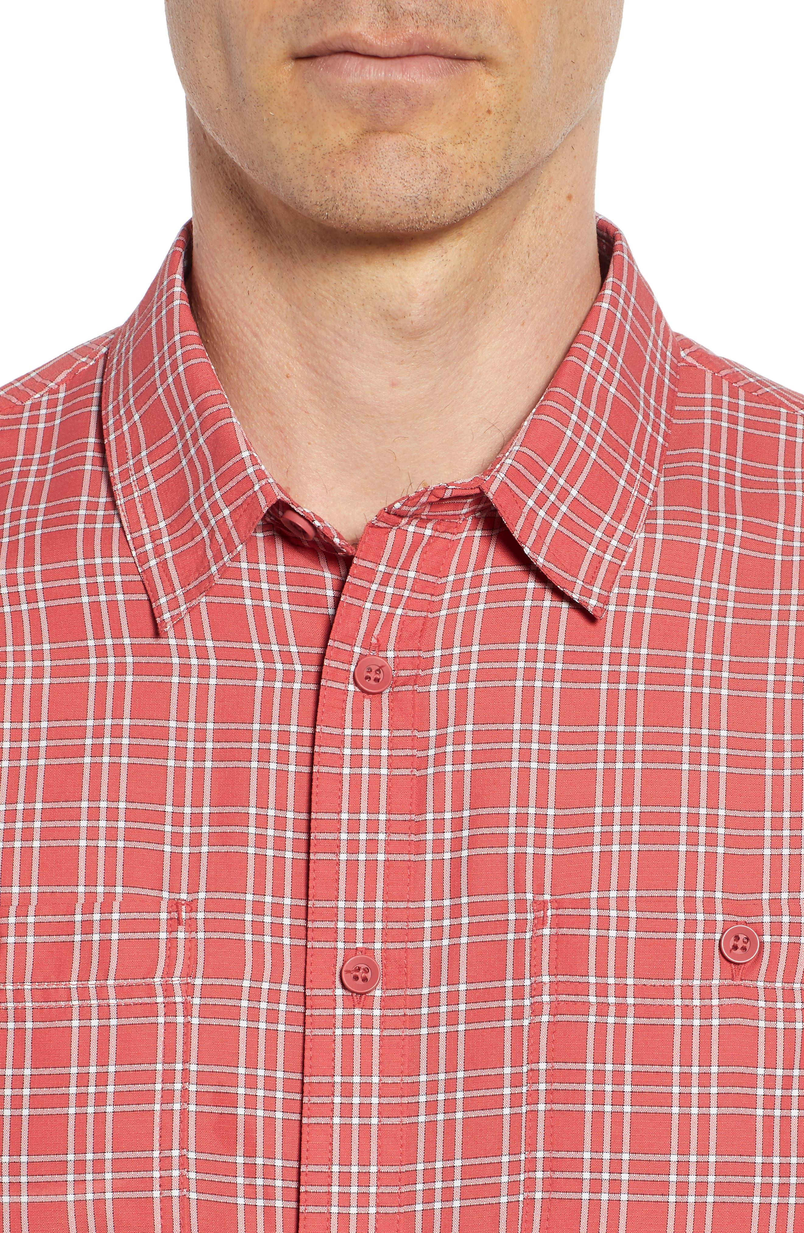 Wake Plaid Regular Fit Performance Sport Shirt,                             Alternate thumbnail 4, color,                             600