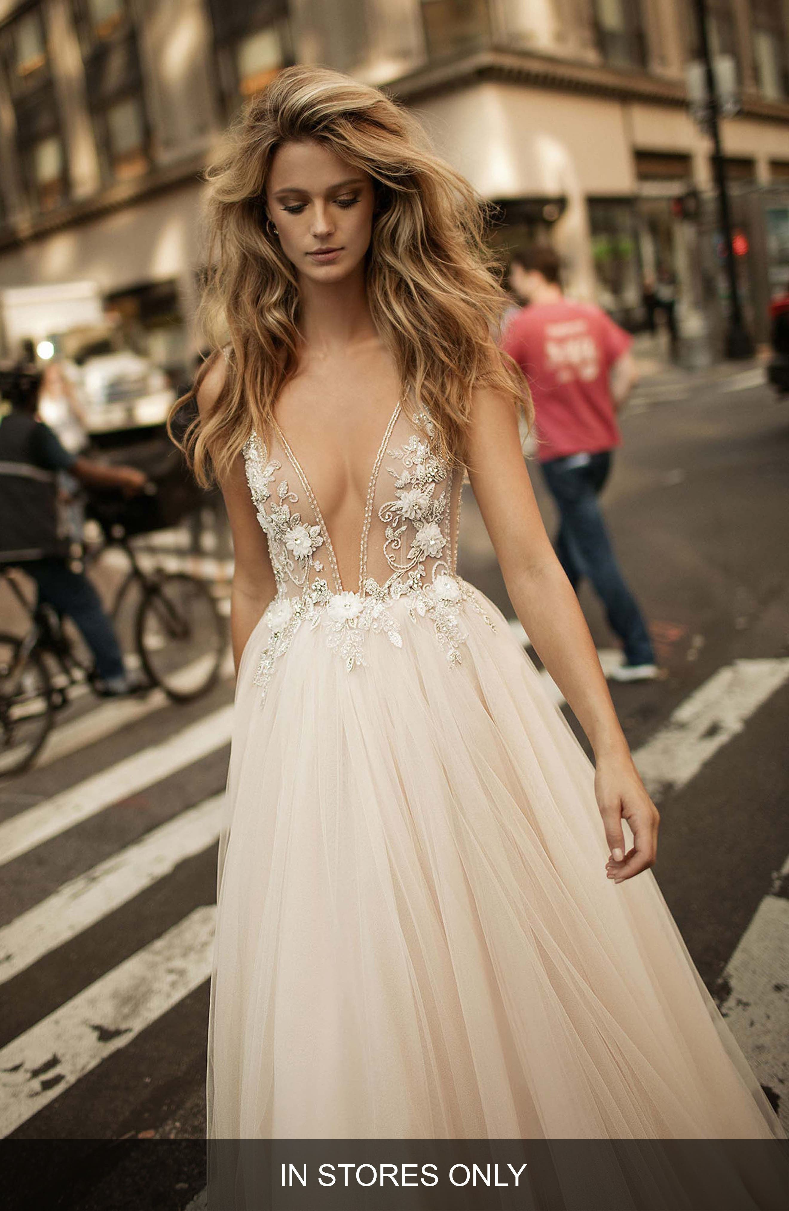 Embellished Plunging V-Neck Tulle Gown,                             Alternate thumbnail 2, color,                             BLUSH