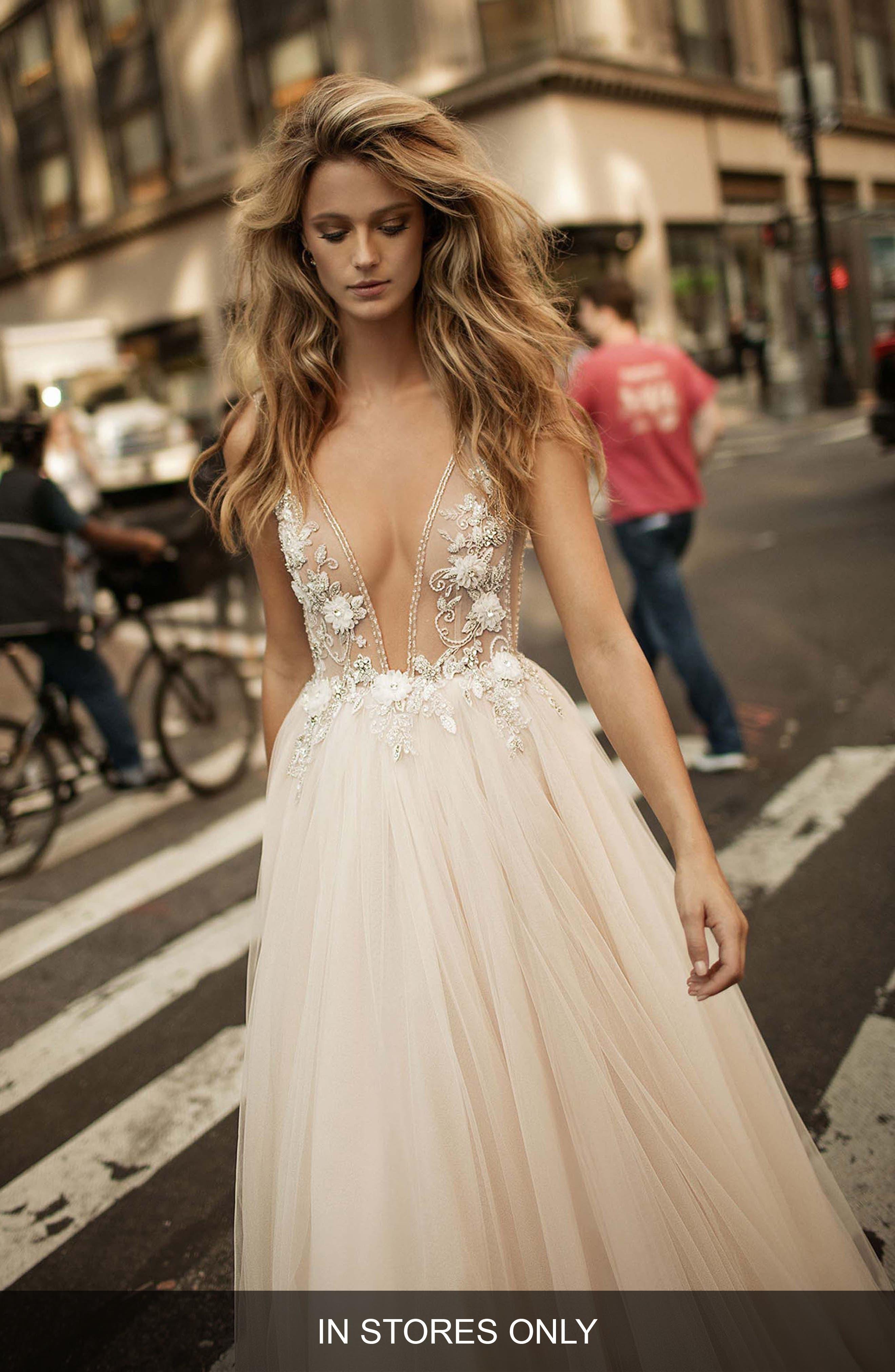 Embellished Plunging V-Neck Tulle Gown,                         Main,                         color, BLUSH