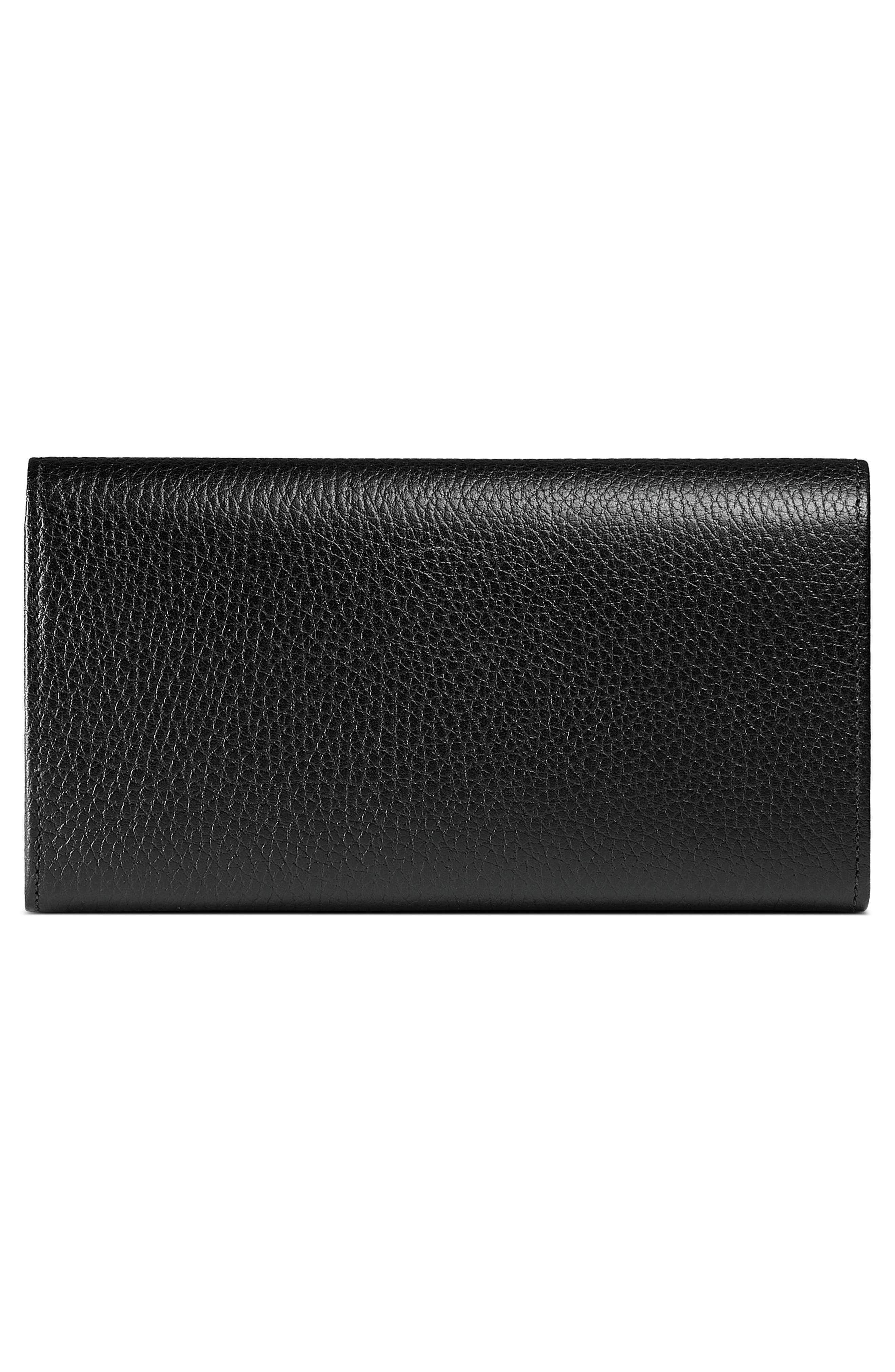Farfalla Leather Continental Wallet,                             Alternate thumbnail 3, color,                             NERO/ CRYSTAL
