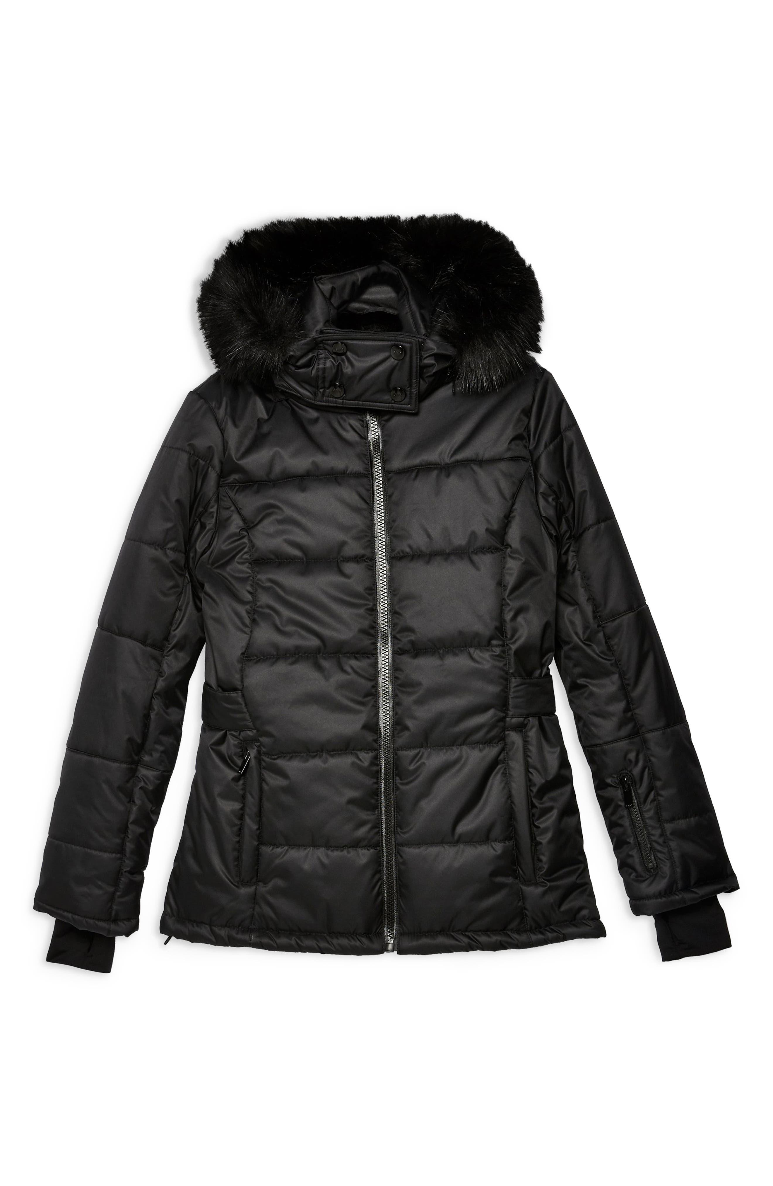 Sno Baby Ski Jacket,                             Alternate thumbnail 4, color,                             BLACK