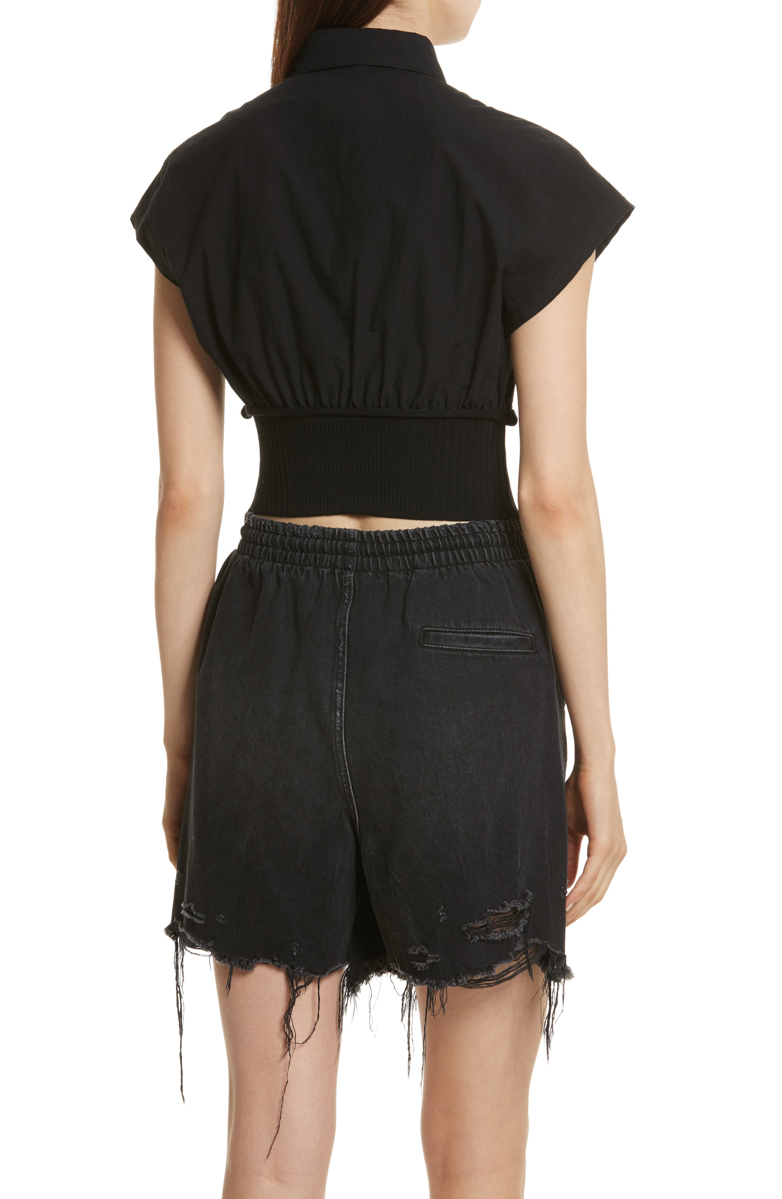 T by Alexander Wang Washed Cotton Poplin Crop Top,                             Alternate thumbnail 2, color,                             001