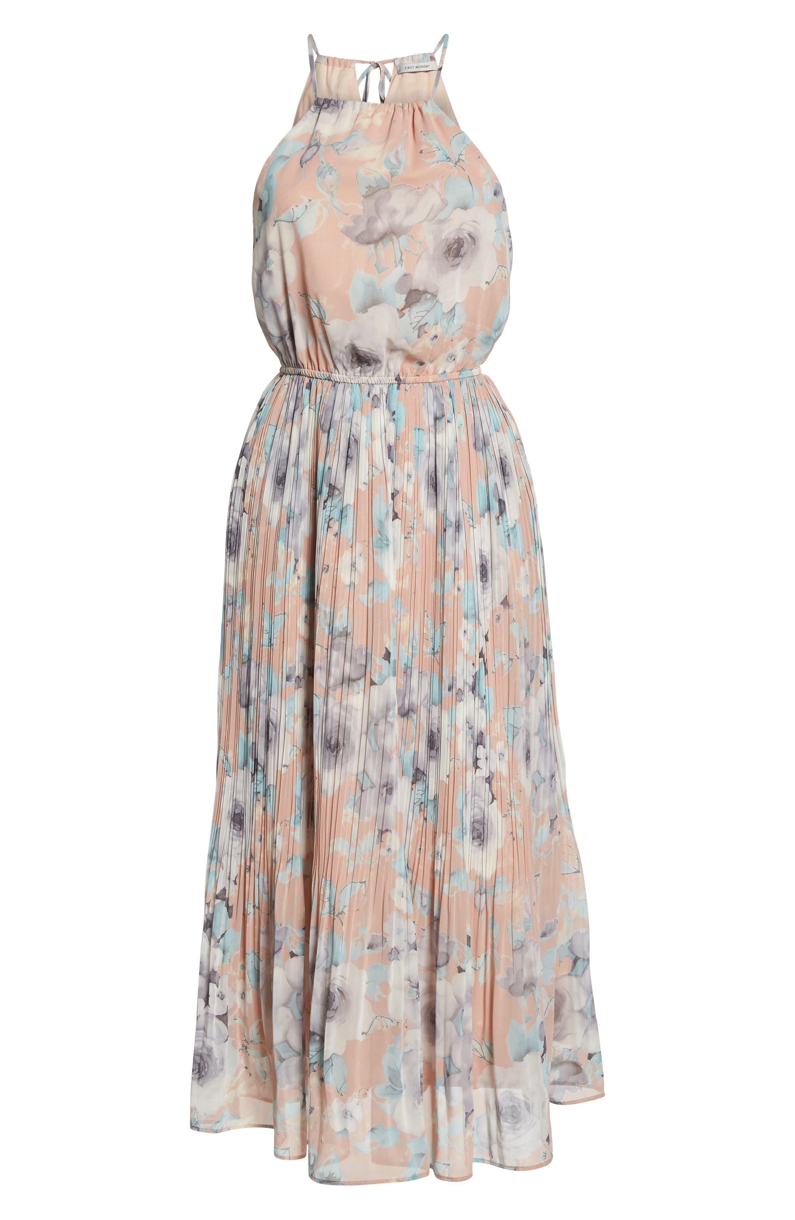 Pleated Floral Halter Dress,                             Alternate thumbnail 7, color,                             650
