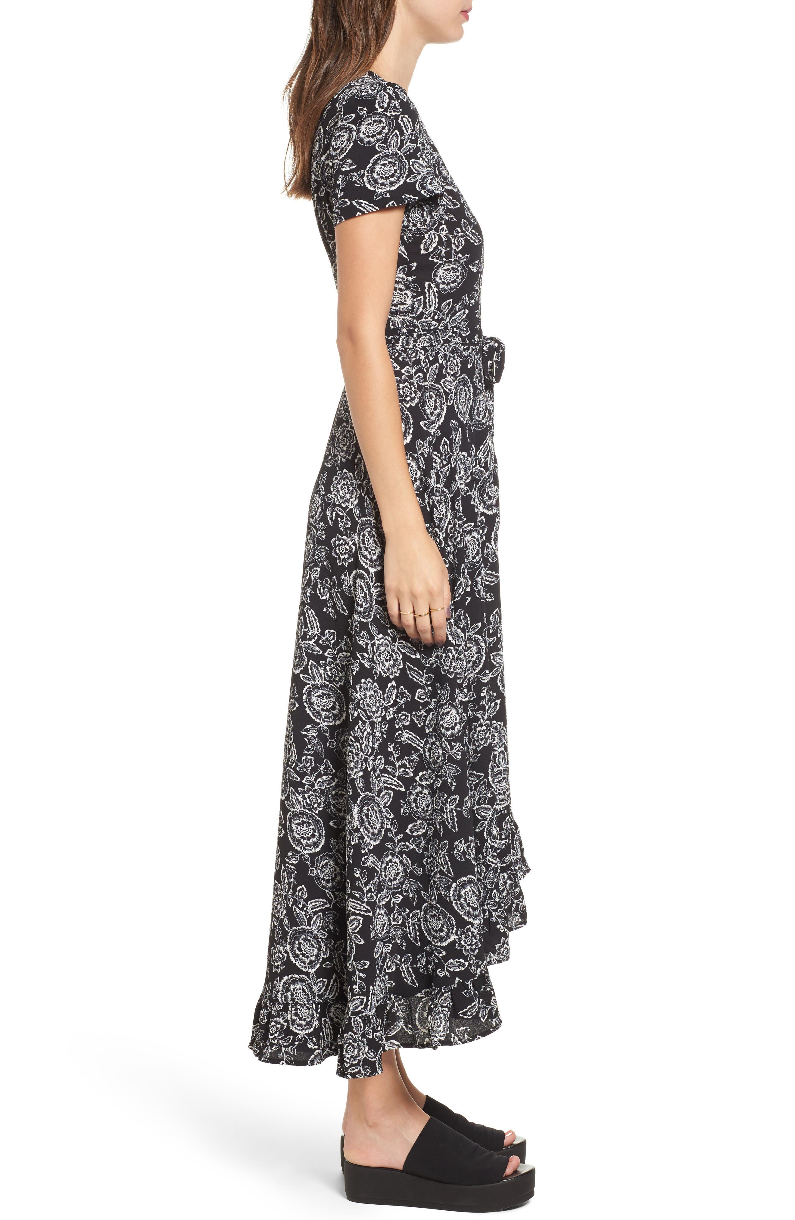 Arabella Wrap Dress,                             Alternate thumbnail 3, color,                             001
