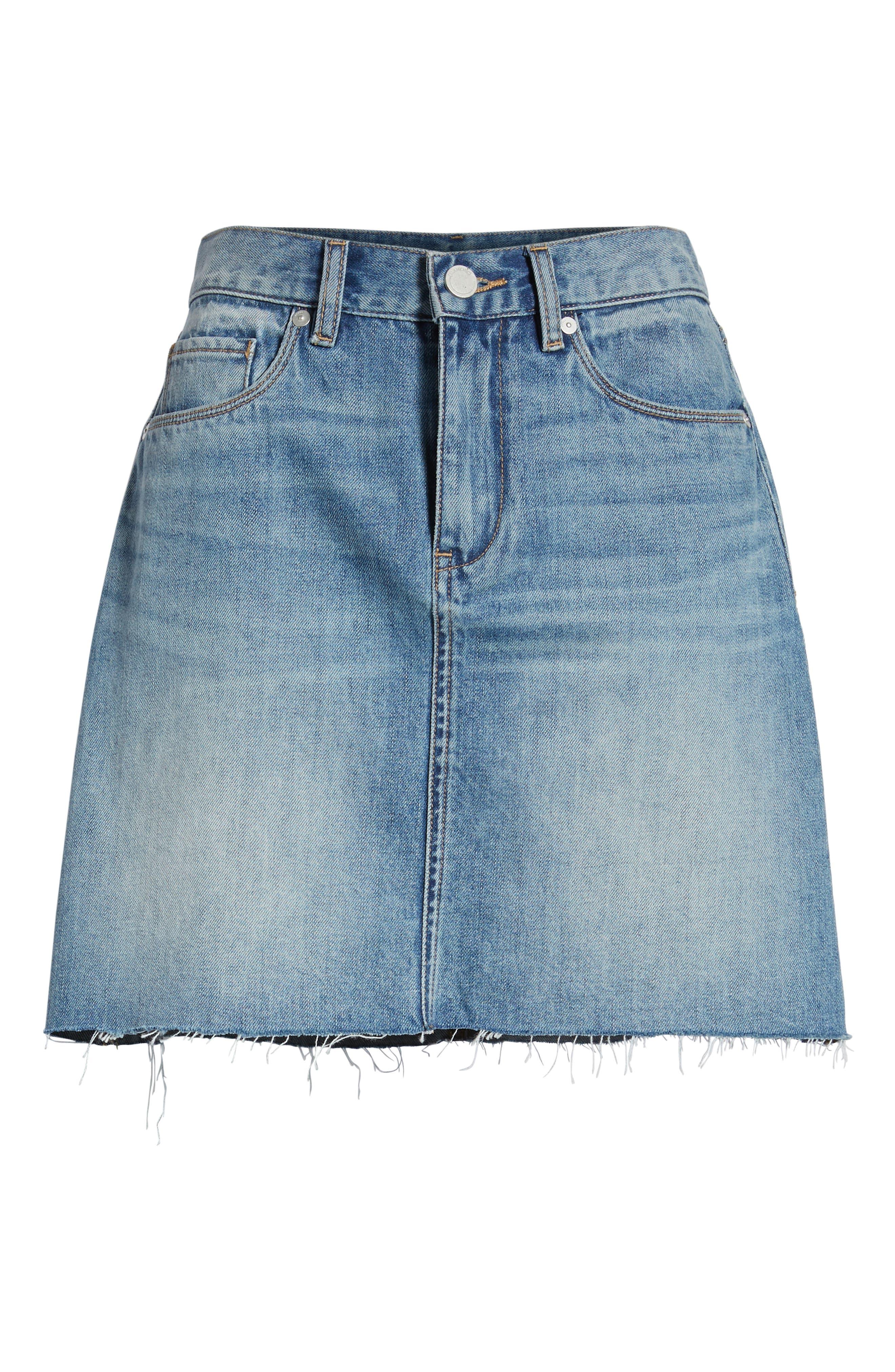 Raw Hem Denim Skirt,                             Alternate thumbnail 7, color,                             420