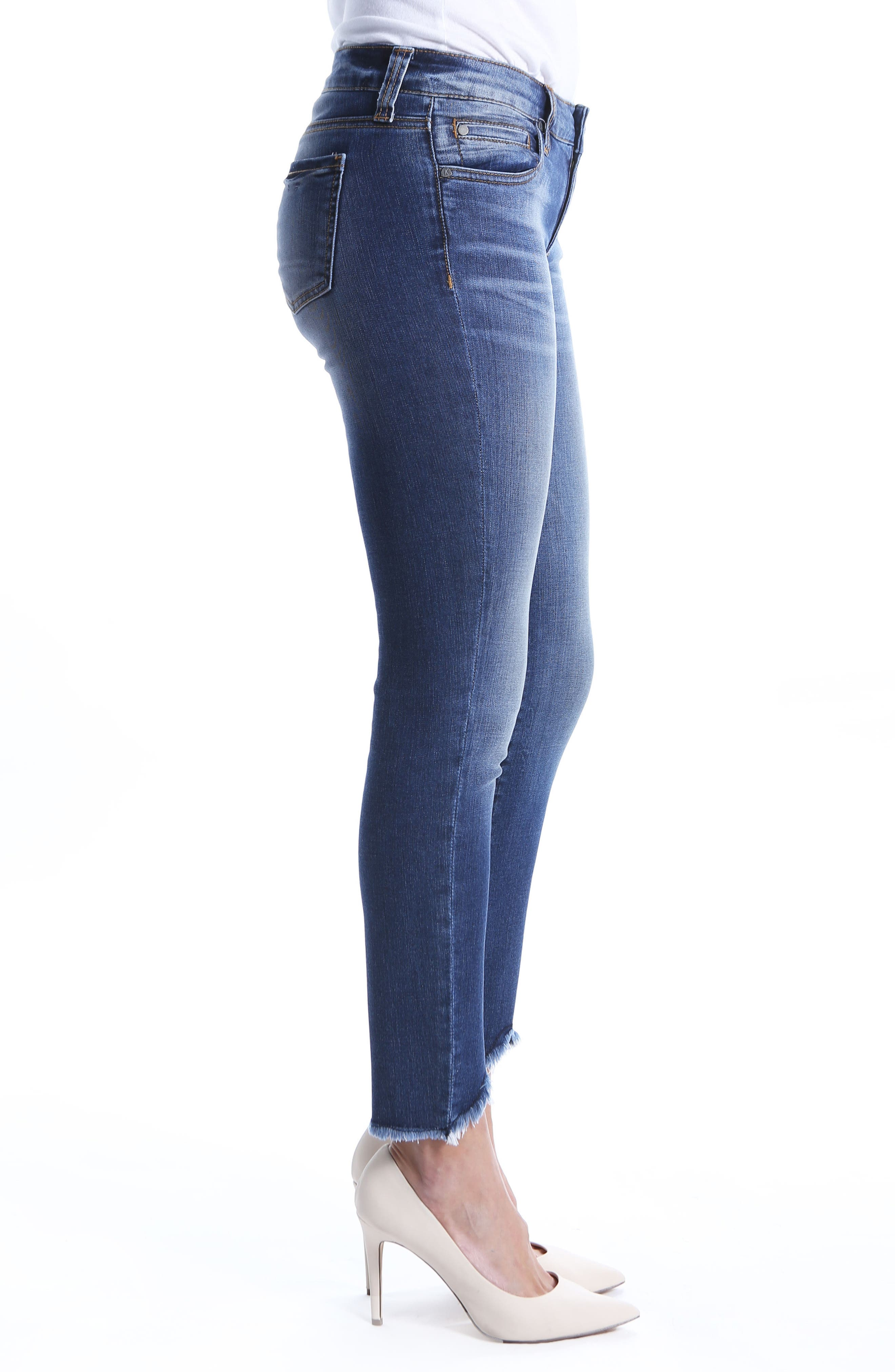 Connie Ankle Skinny Frayed Hem Jeans,                             Alternate thumbnail 3, color,                             400