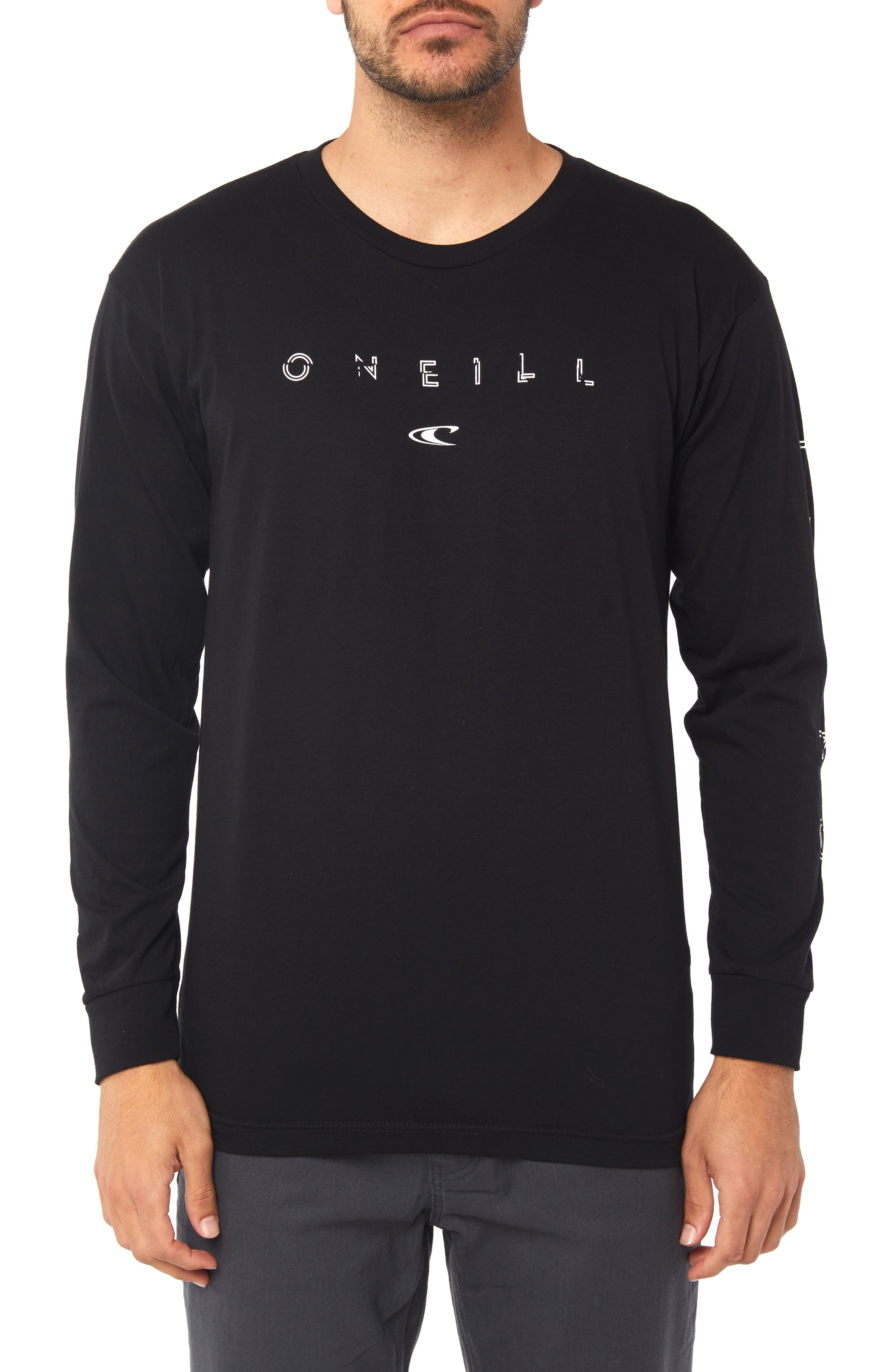 Spaced Out Graphic Long Sleeve T-Shirt,                         Main,                         color, BLACK