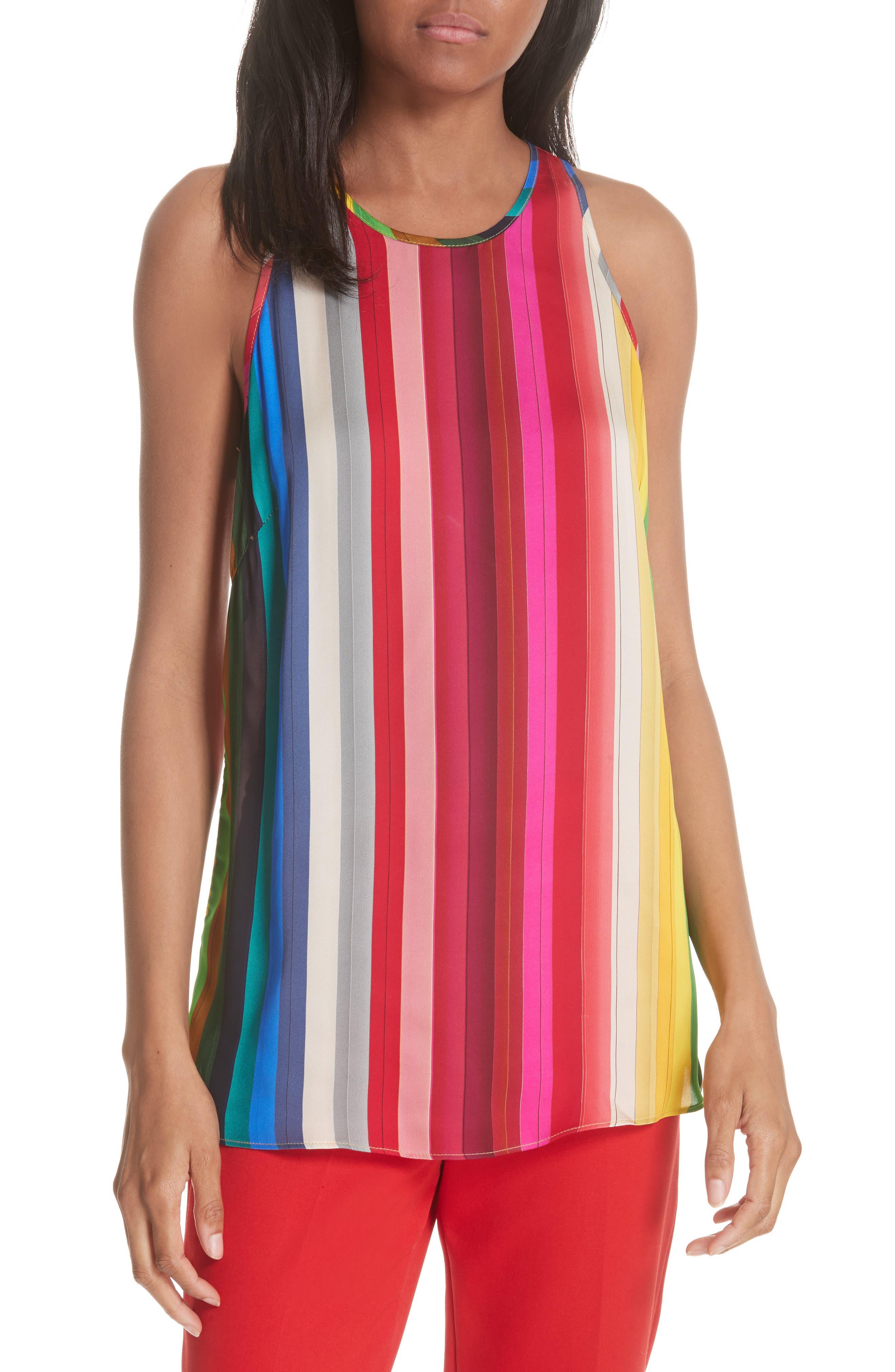 Marie Rainbow Stripe Swing Tank,                             Main thumbnail 1, color,                             600