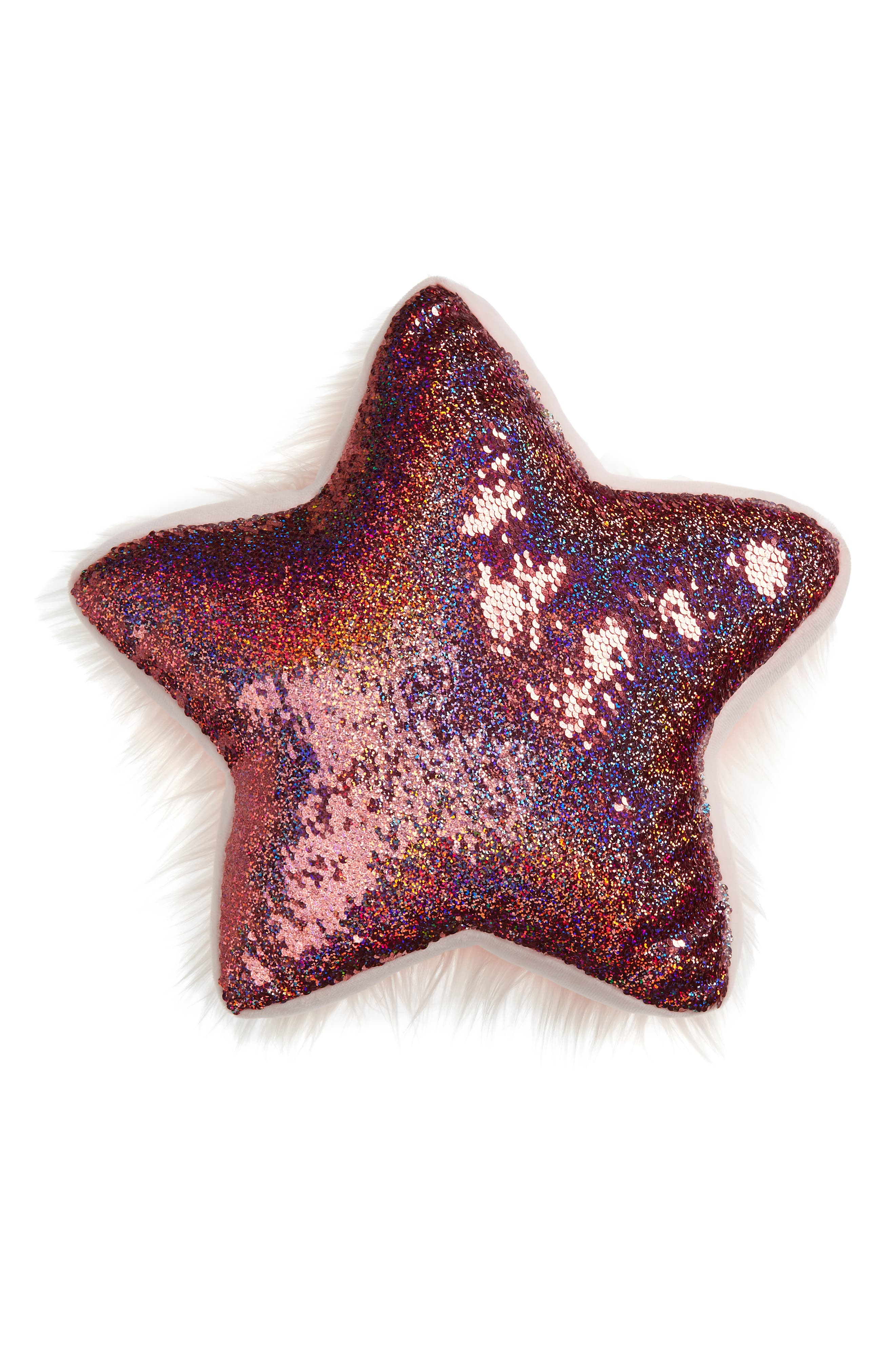 Flip Sequin/Faux Fur Reversible Star Accent Pillow,                             Main thumbnail 1, color,                             PINK COMBO