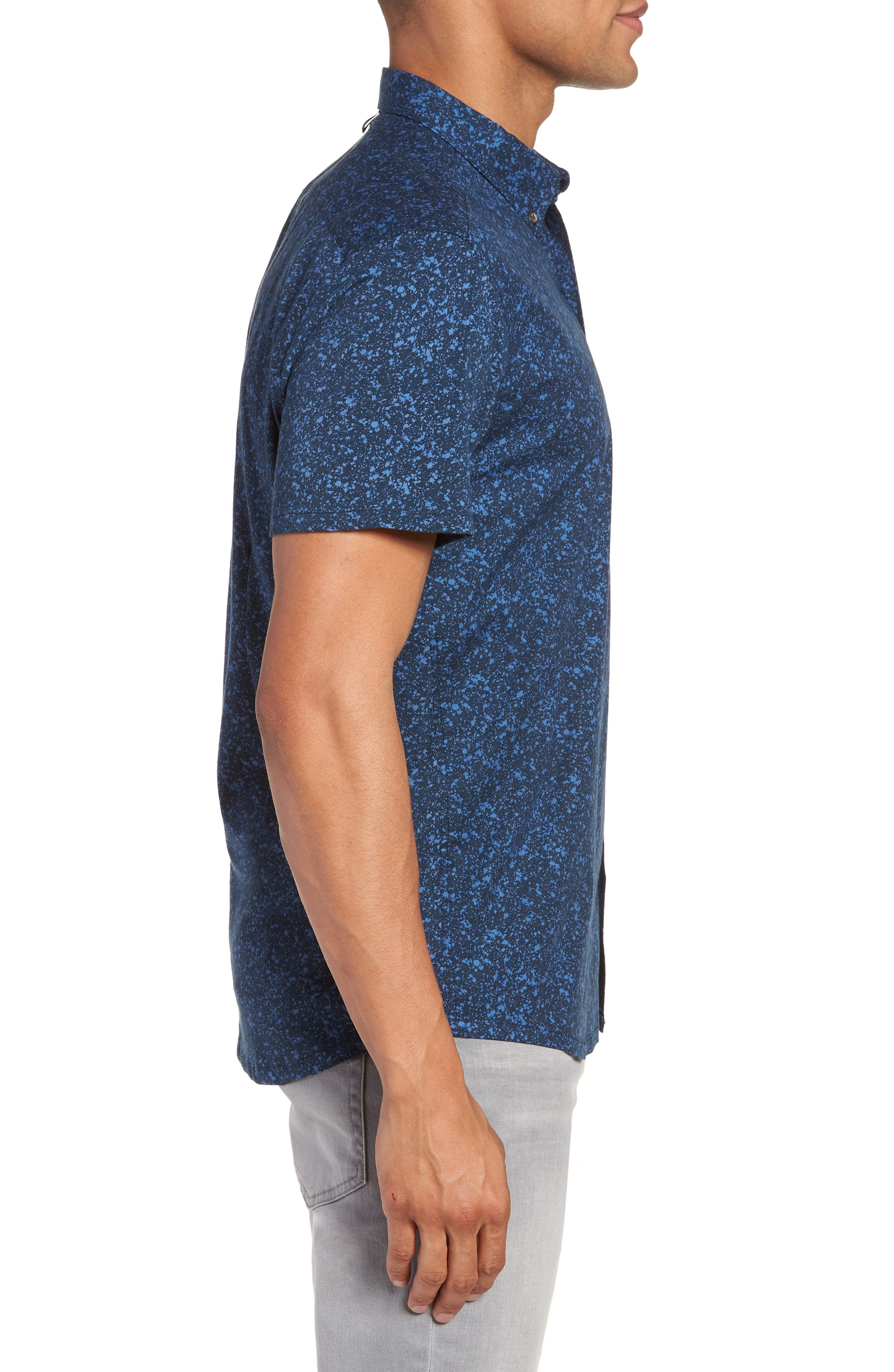 Slim Fit Splatter Sport Shirt,                             Alternate thumbnail 3, color,                             410