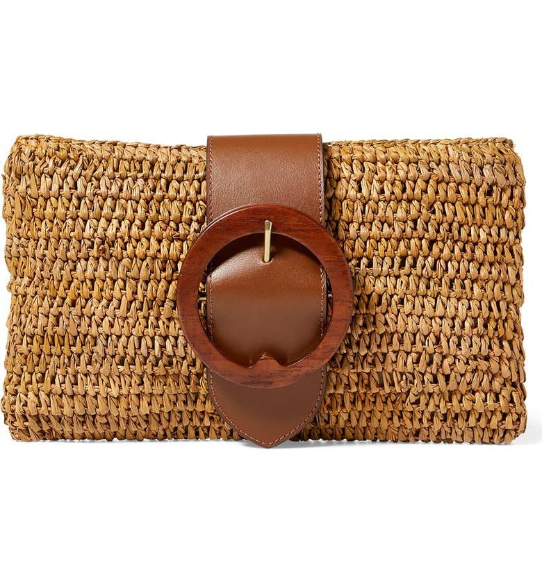 Polo Ralph Lauren Lennox Raffia   Leather Clutch  c9f454f7c0407