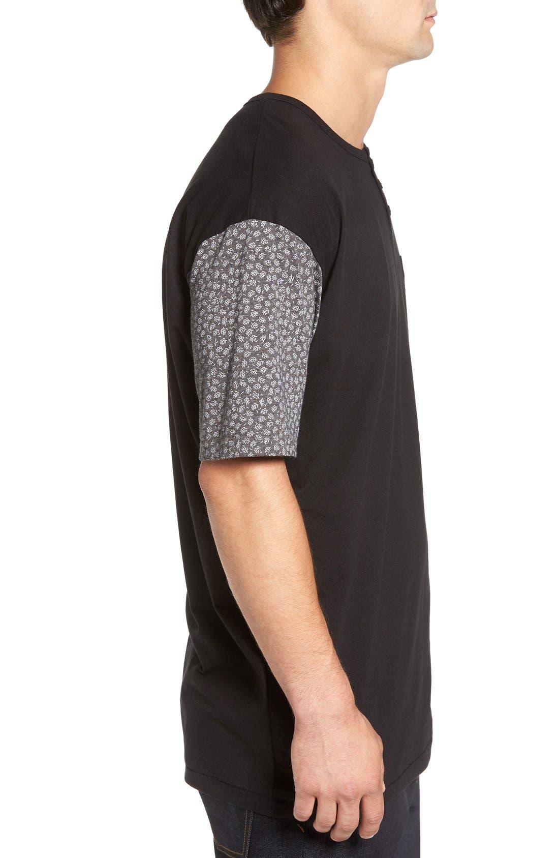 'Harper' Short Sleeve Pocket Henley T-Shirt,                             Alternate thumbnail 3, color,                             001