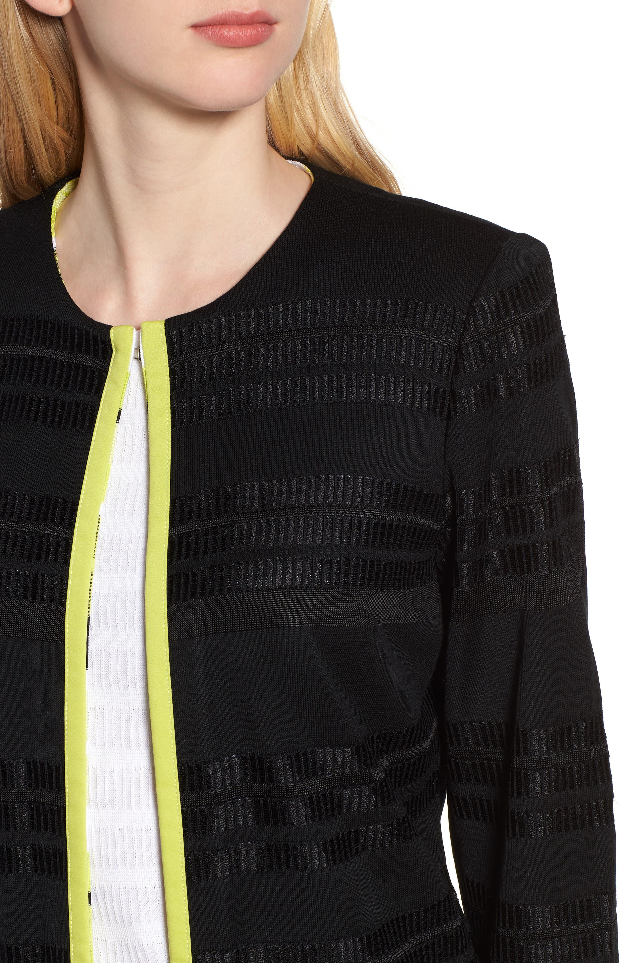 Long Jacquard Knit Jacket,                             Alternate thumbnail 4, color,                             BLACK/ PEAR/ WHITE
